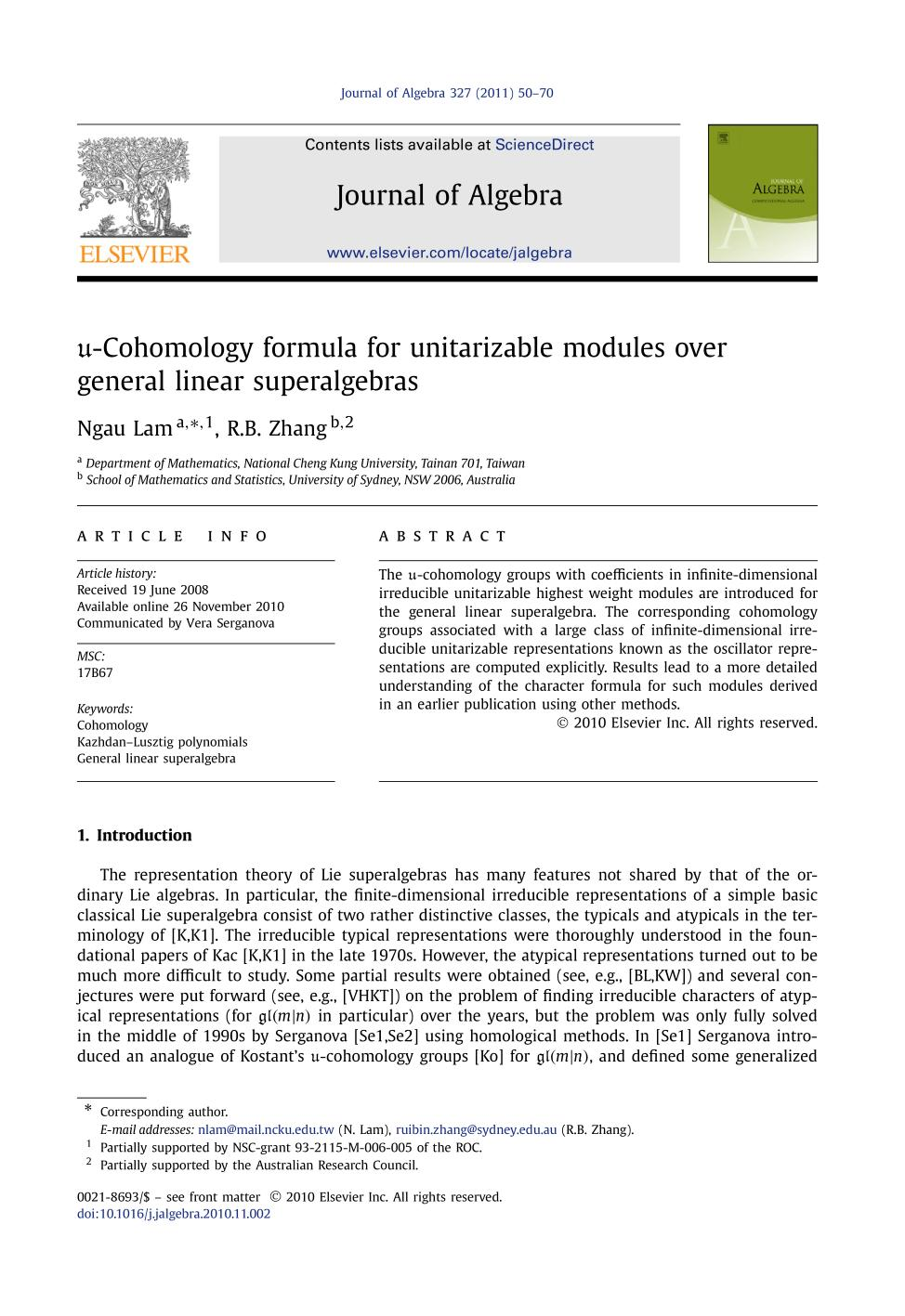 Book cover -Cohomology formula for unitarizable modules over general linear superalgebras