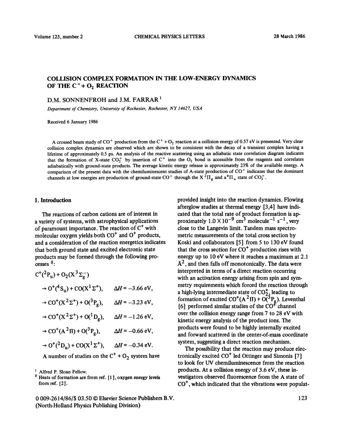 Обложка книги Collision complex formation in the low-energy dynamics of the C+ + O2 reaction