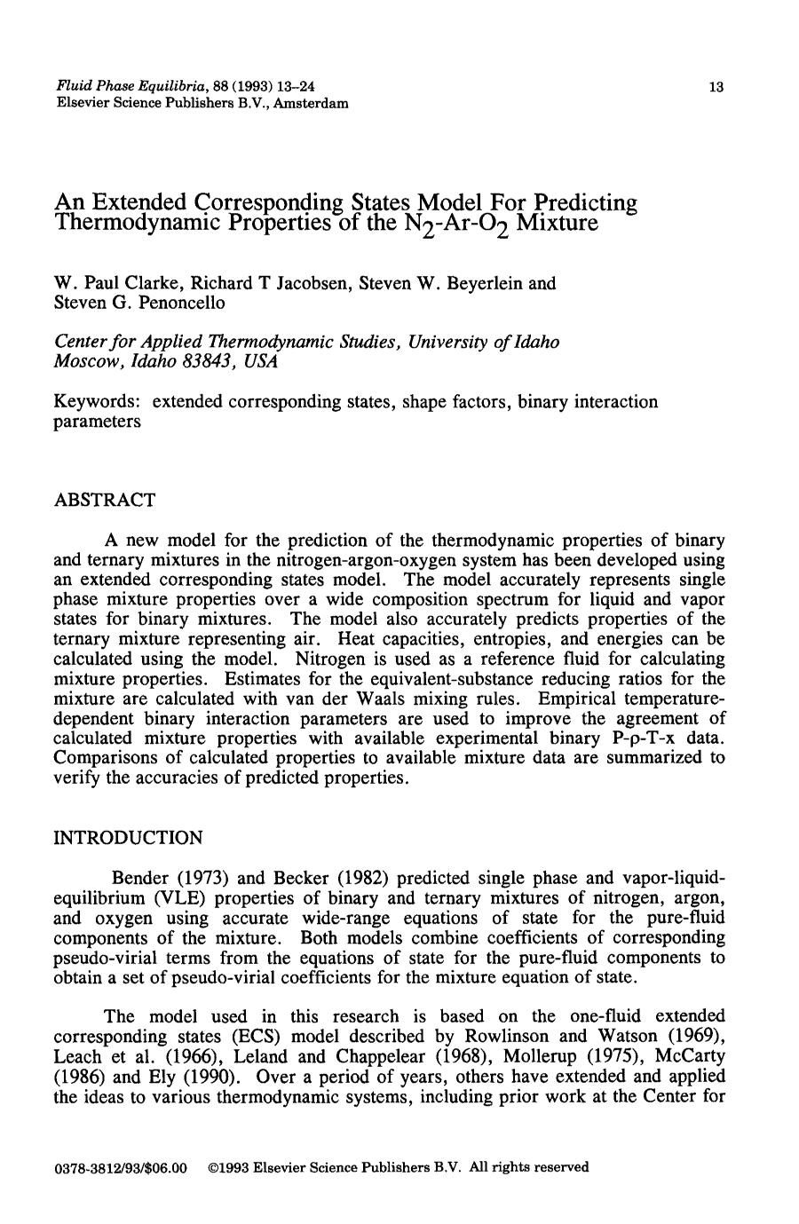 Book cover An Extended Corresponding States Model For Predicting Thermodynamic Properties of the N2-Ar-O2 Mixture