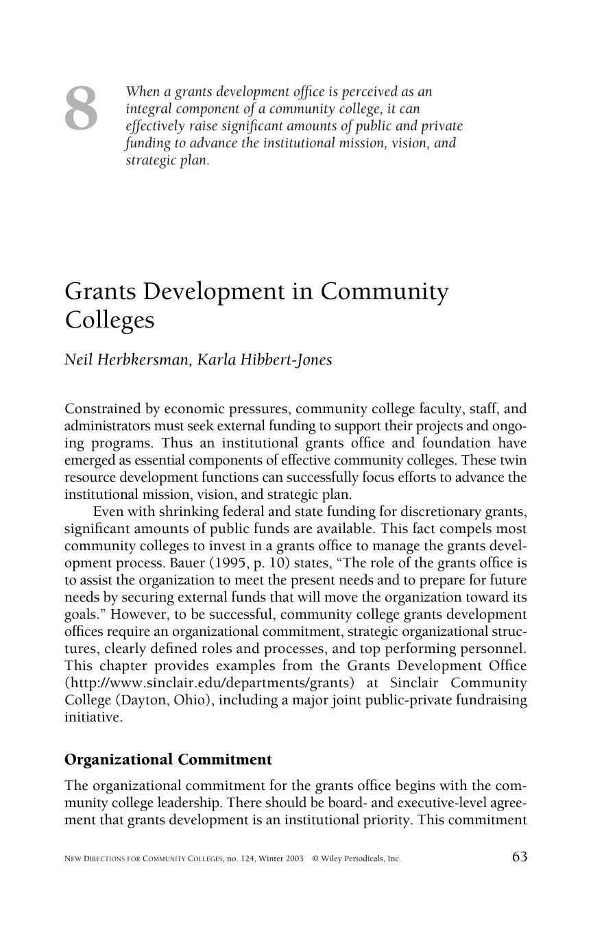 Book cover Grants development in community colleges