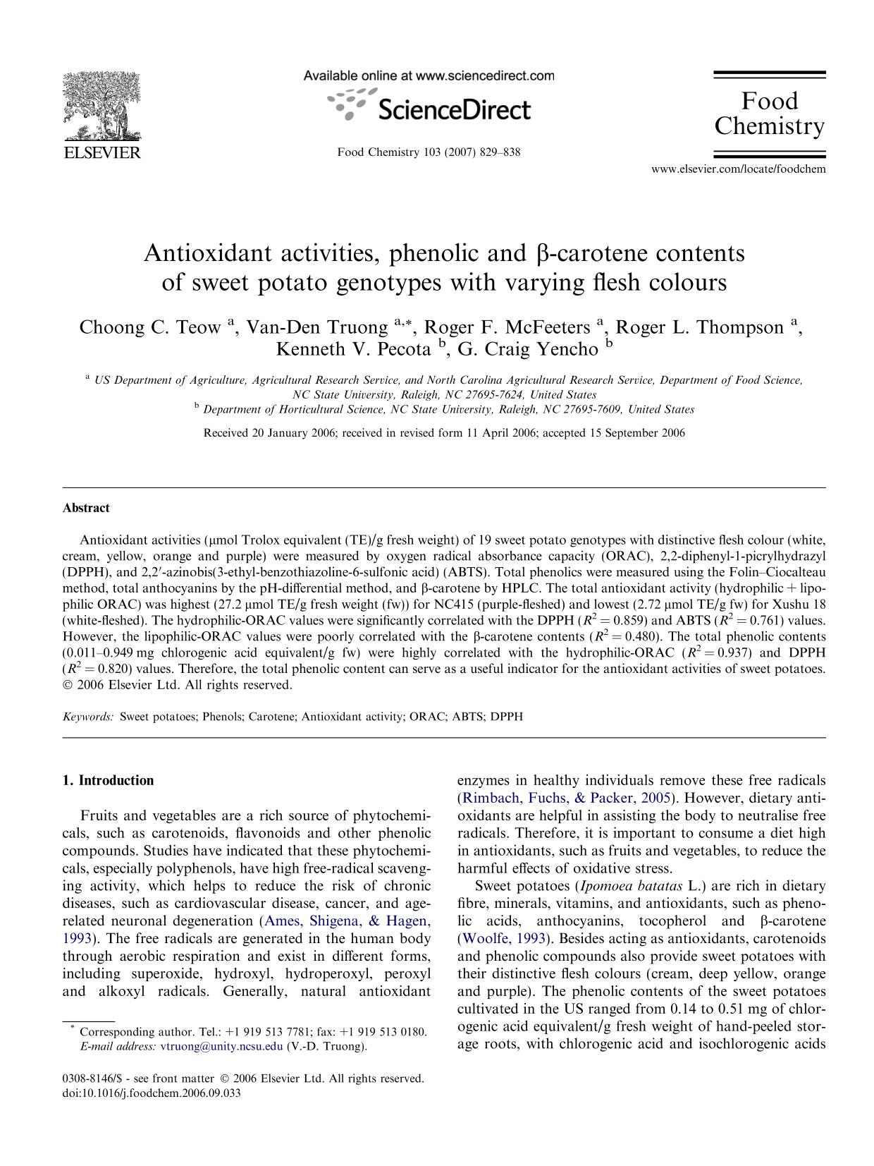 Book cover Antioxidant activities, phenolic and β-carotene contents of sweet potato genotypes with varying flesh colours