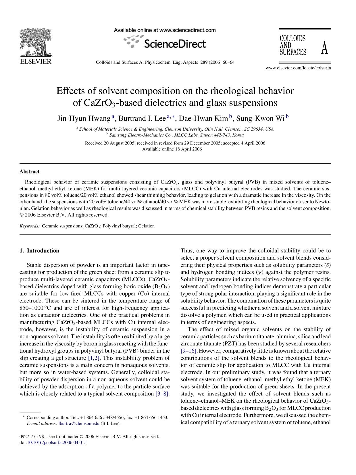 Обкладинка книги Effects of solvent composition on the rheological behavior of CaZrO3-based dielectrics and glass suspensions