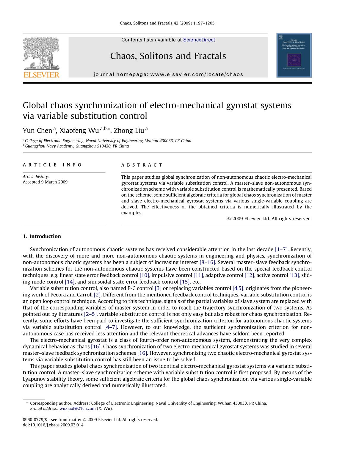 Book cover Global chaos synchronization of electro-mechanical gyrostat systems via variable substitution control