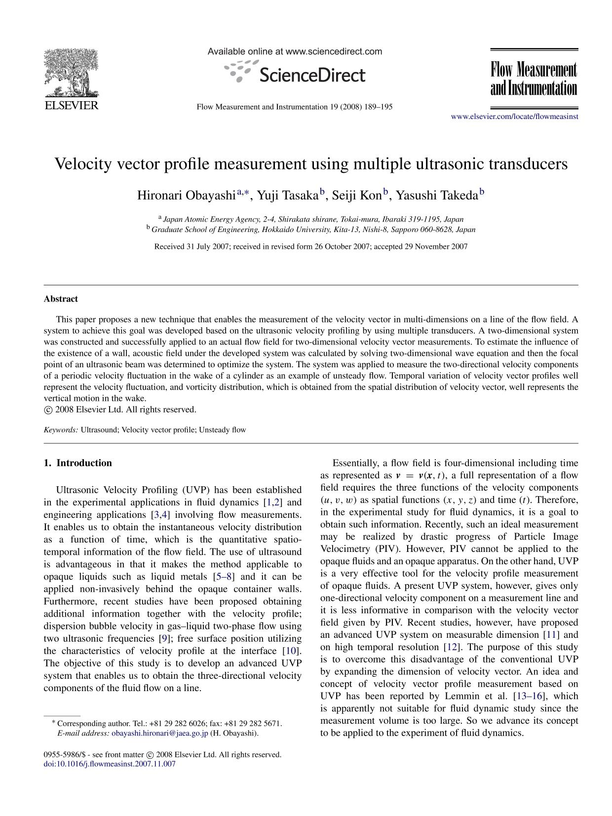 capa de livro Velocity vector profile measurement using multiple ultrasonic transducers