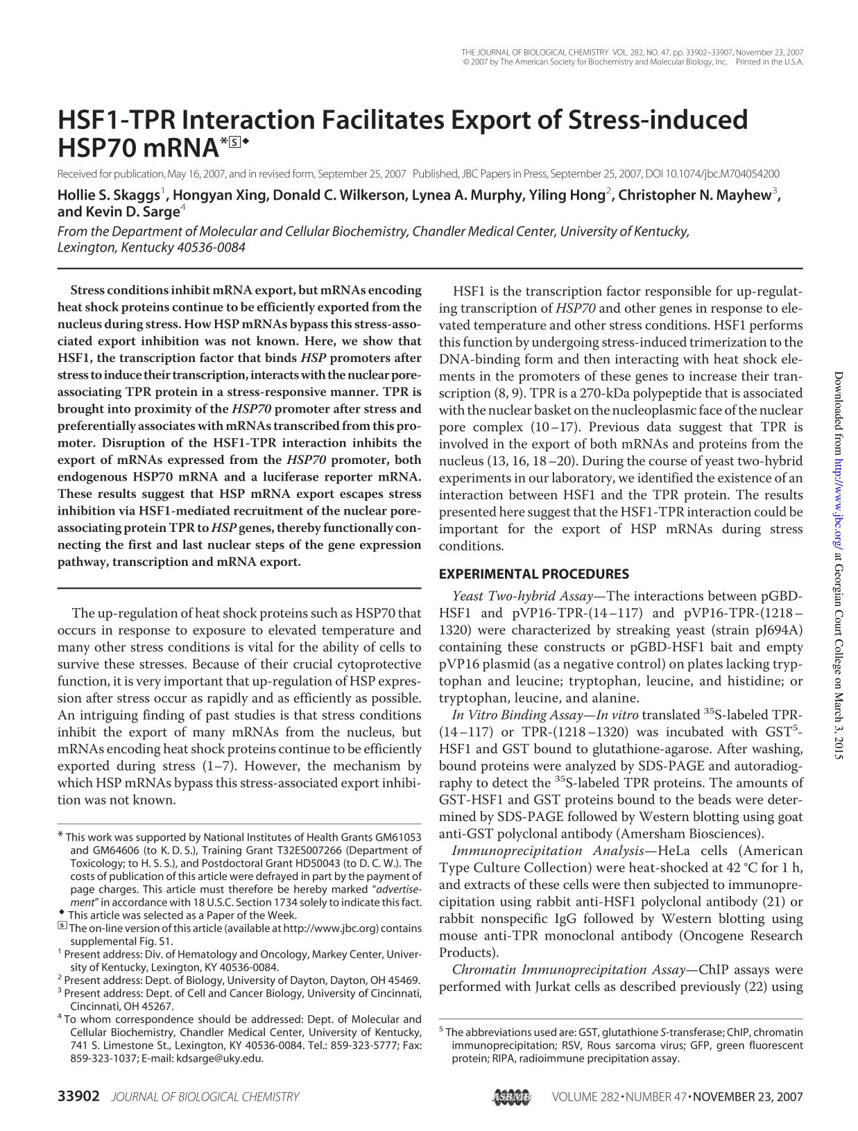 Book cover HSF1-TPR Interaction Facilitates Export of Stress-induced HSP70 mRNA