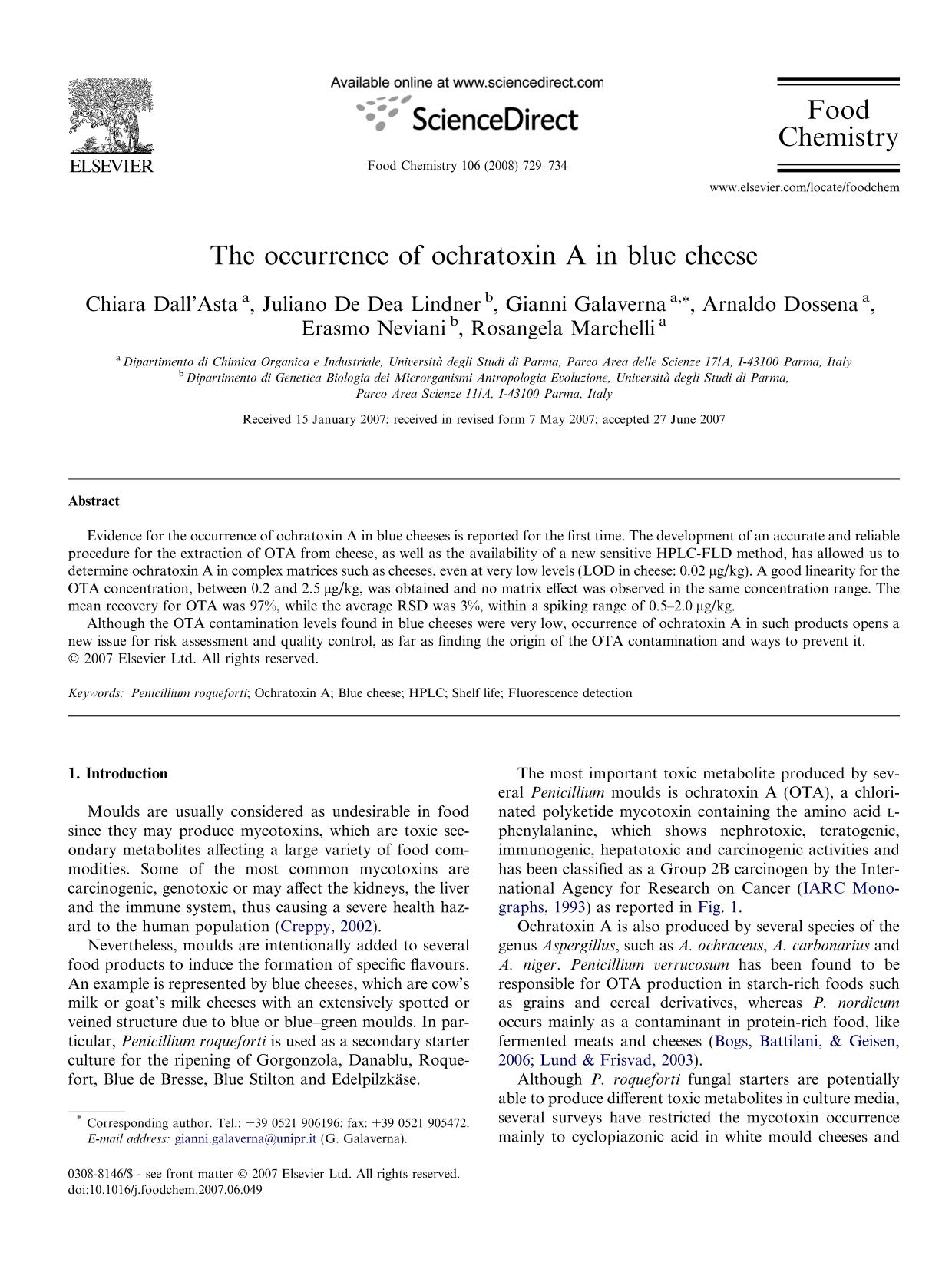 Portada del libro The occurrence of ochratoxin A in blue cheese