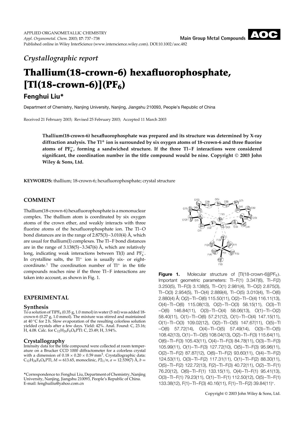 Book cover Crystallographic report: Thallium(18-crown-6) hexafluorophosphate, [Tl(18-crown-6)](PF6)