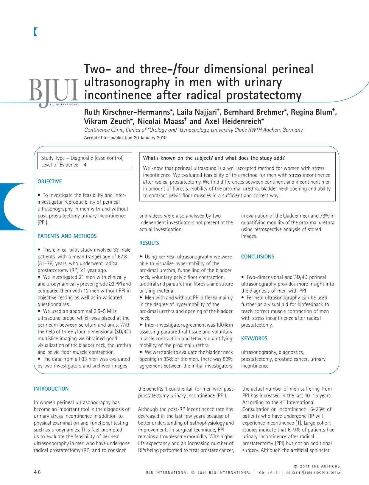 Book cover Two- and three-/four dimensional perineal ultrasonography in men with urinary incontinence after radical prostatectomy