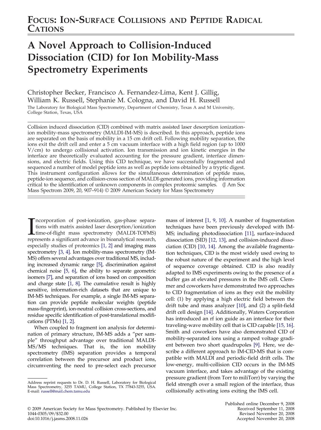 Book cover A Novel Approach to Collision-Induced Dissociation (CID) for Ion Mobility-Mass Spectrometry Experiments