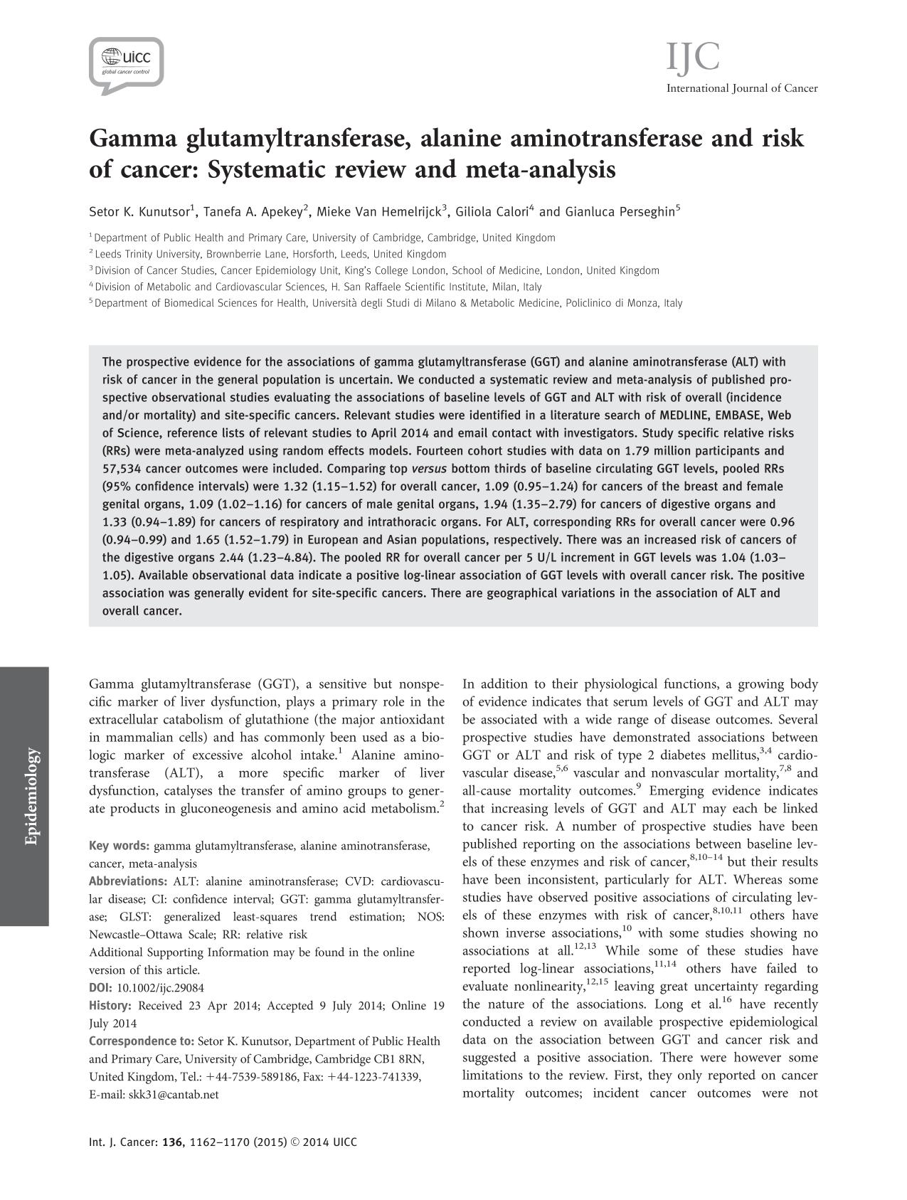 Book cover Gamma glutamyltransferase, alanine aminotransferase and risk of cancer: Systematic review and meta-analysis