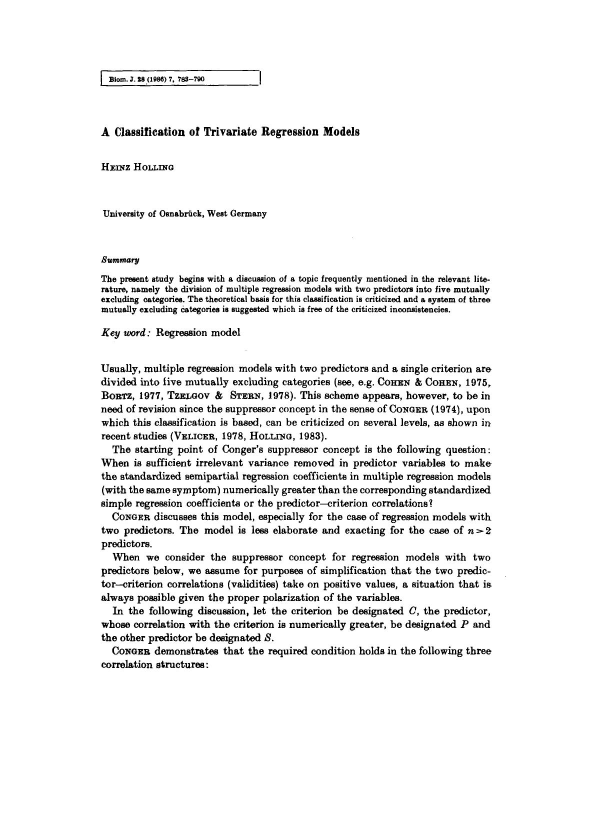 Couverture A Classification of Trivariate Regression Models