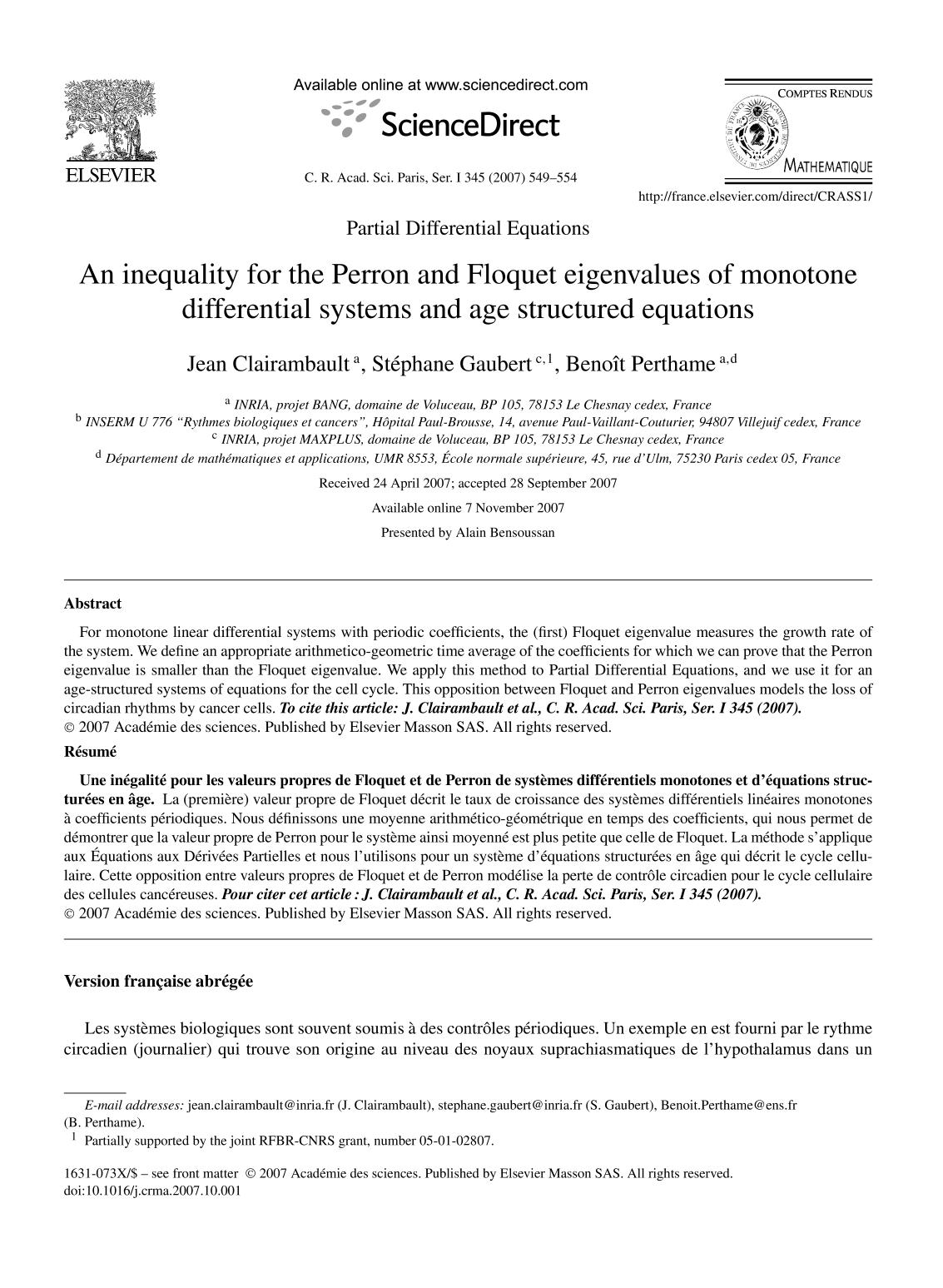 Book cover An inequality for the Perron and Floquet eigenvalues of monotone differential systems and age structured equations