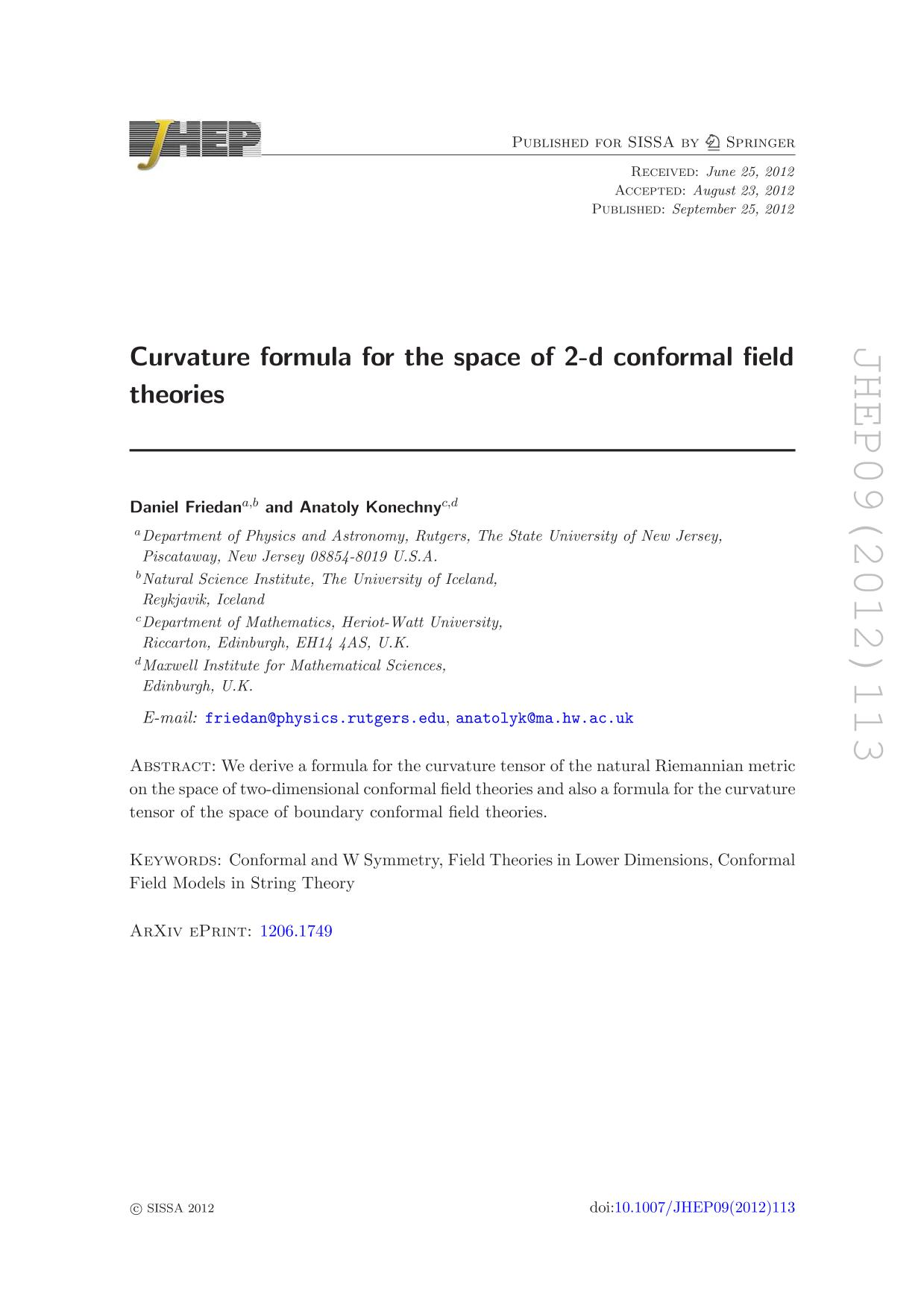 Book cover Curvature formula for the space of 2-d conformal field theories