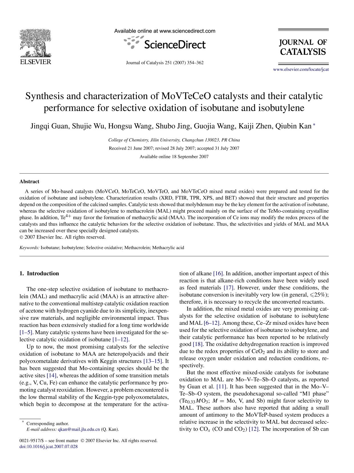 Couverture Synthesis and characterization of MoVTeCeO catalysts and their catalytic performance for selective oxidation of isobutane and isobutylene
