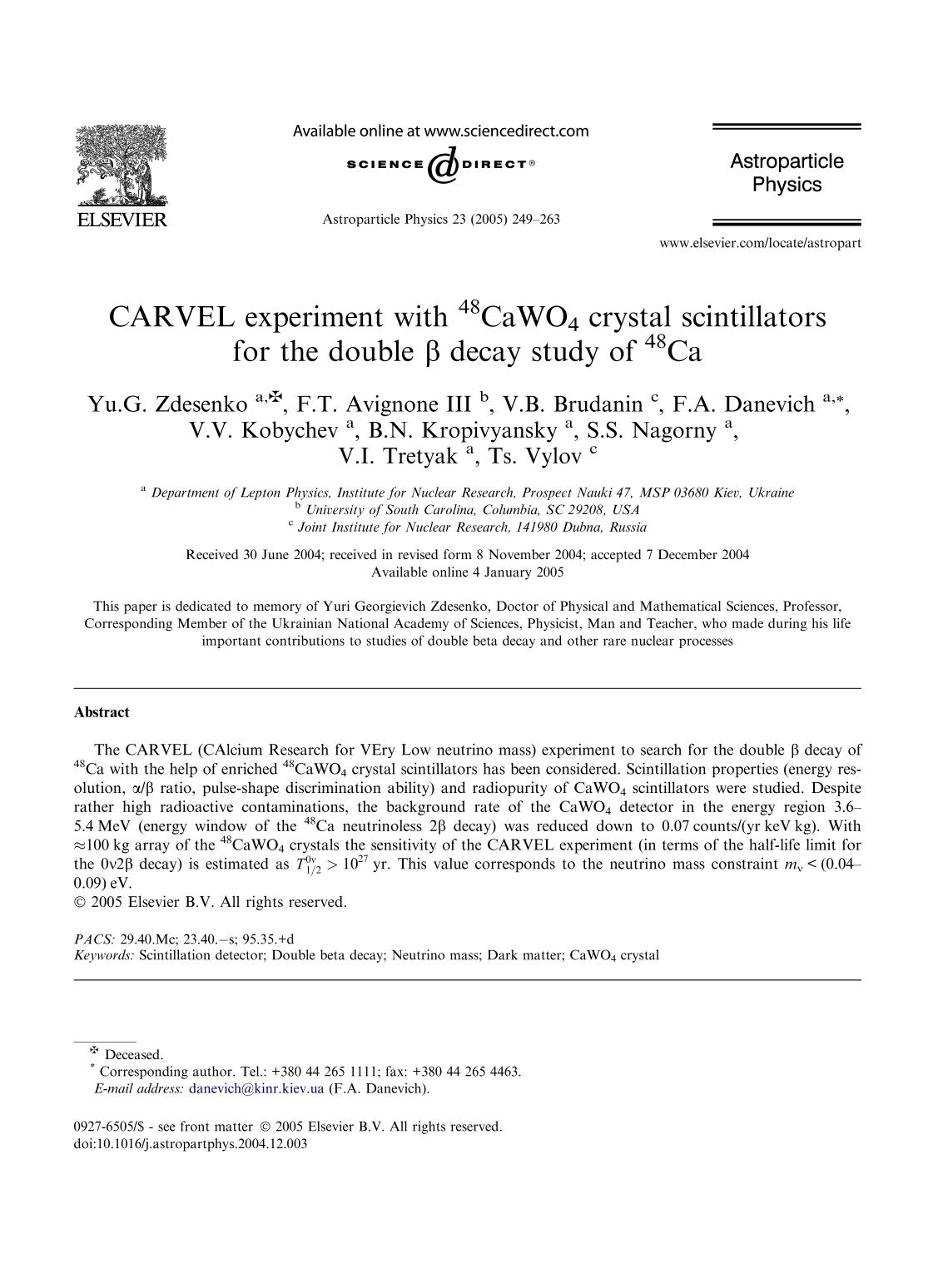 Book cover CARVEL experiment with 48CaWO4 crystal scintillators for the double β decay study of 48Ca