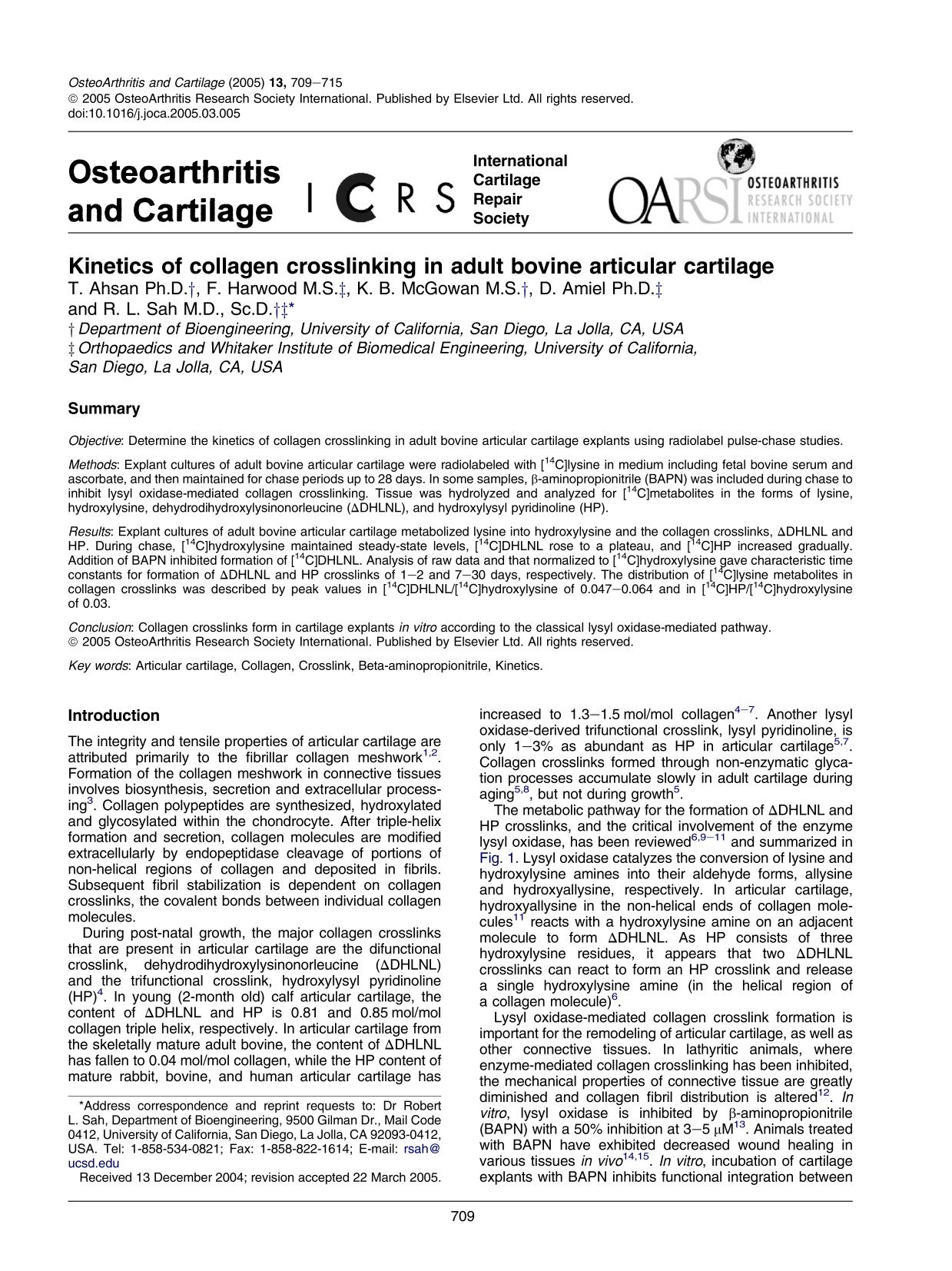 Book cover Kinetics of collagen crosslinking in adult bovine articular cartilage