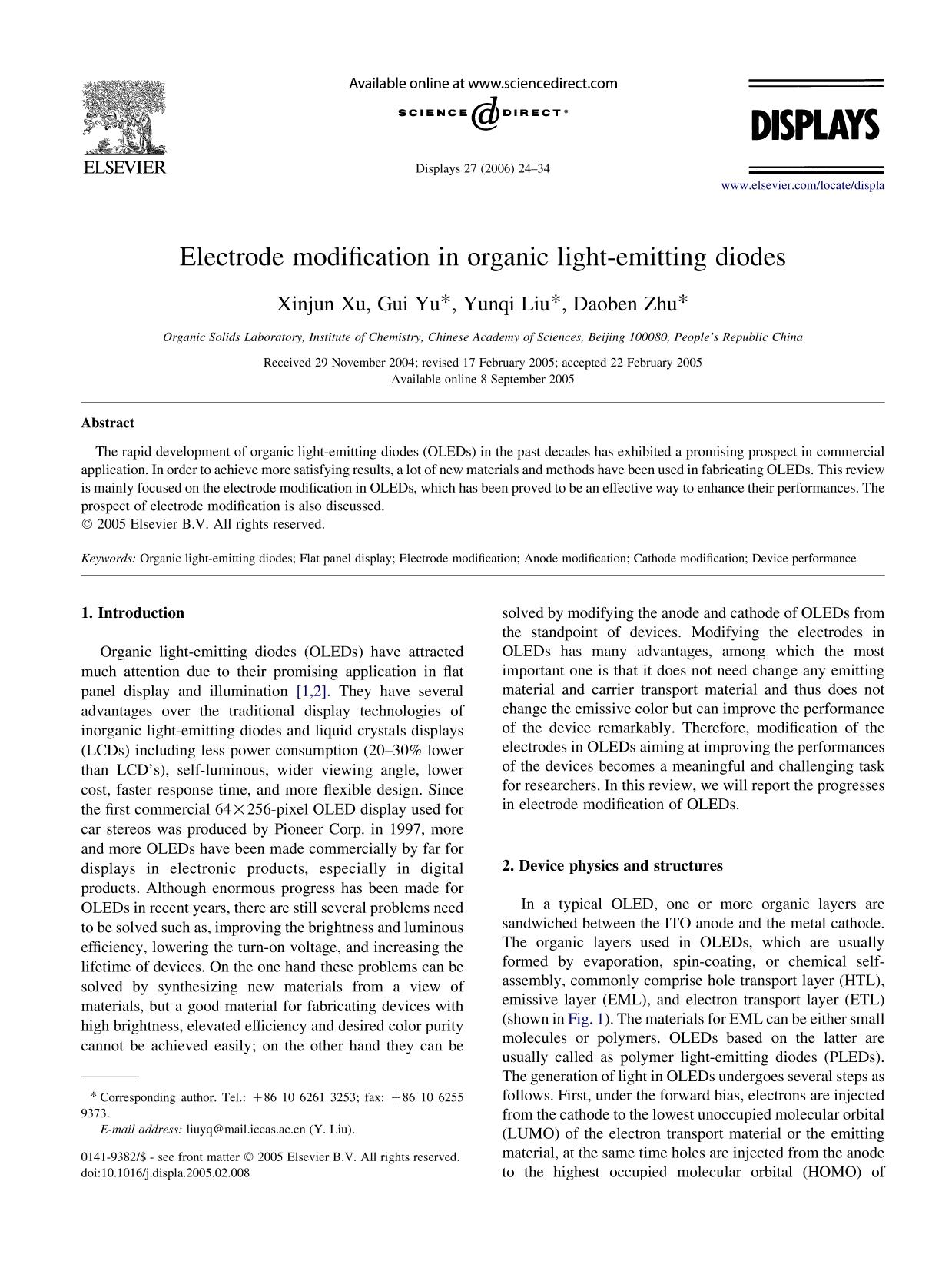 غلاف الكتاب Electrode modification in organic light-emitting diodes