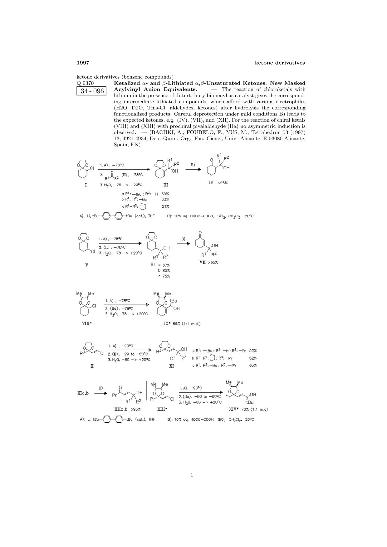 Book cover ChemInform Abstract: Ketalized α- and β-Lithiated α,β-Unsaturated Ketones: New Masked Acylvinyl Anion Equivalents.<span></span>