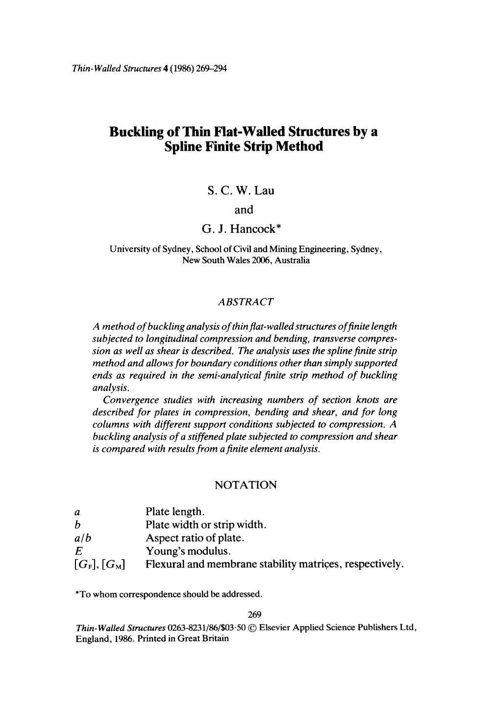 Book cover Buckling of thin flat-walled structures by a spline finite strip method