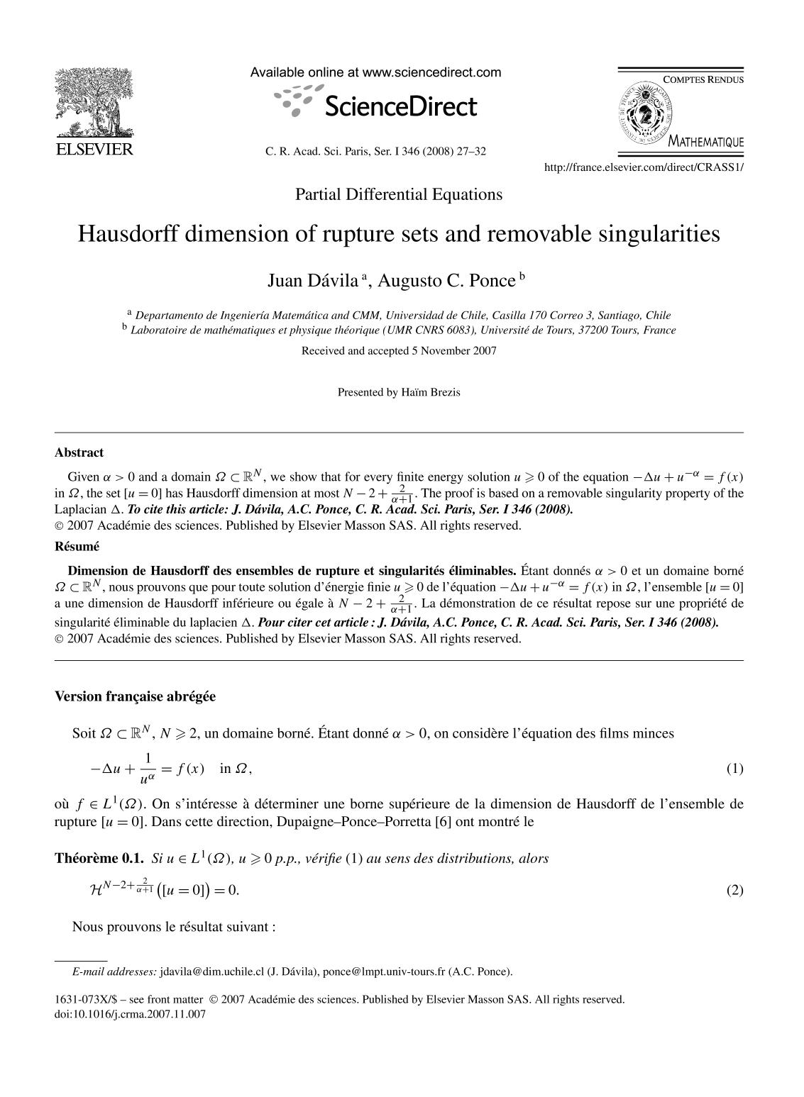 Book cover Hausdorff dimension of rupture sets and removable singularities