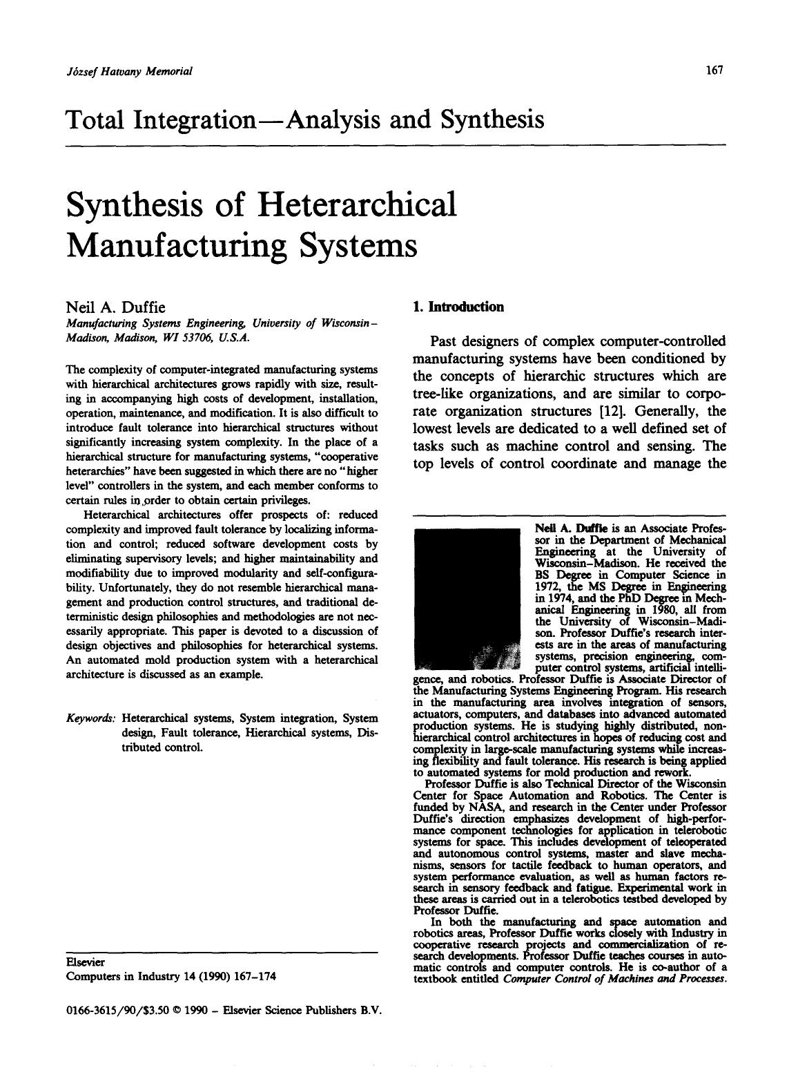 Book cover Synthesis of Heterarchical manufacturing systems
