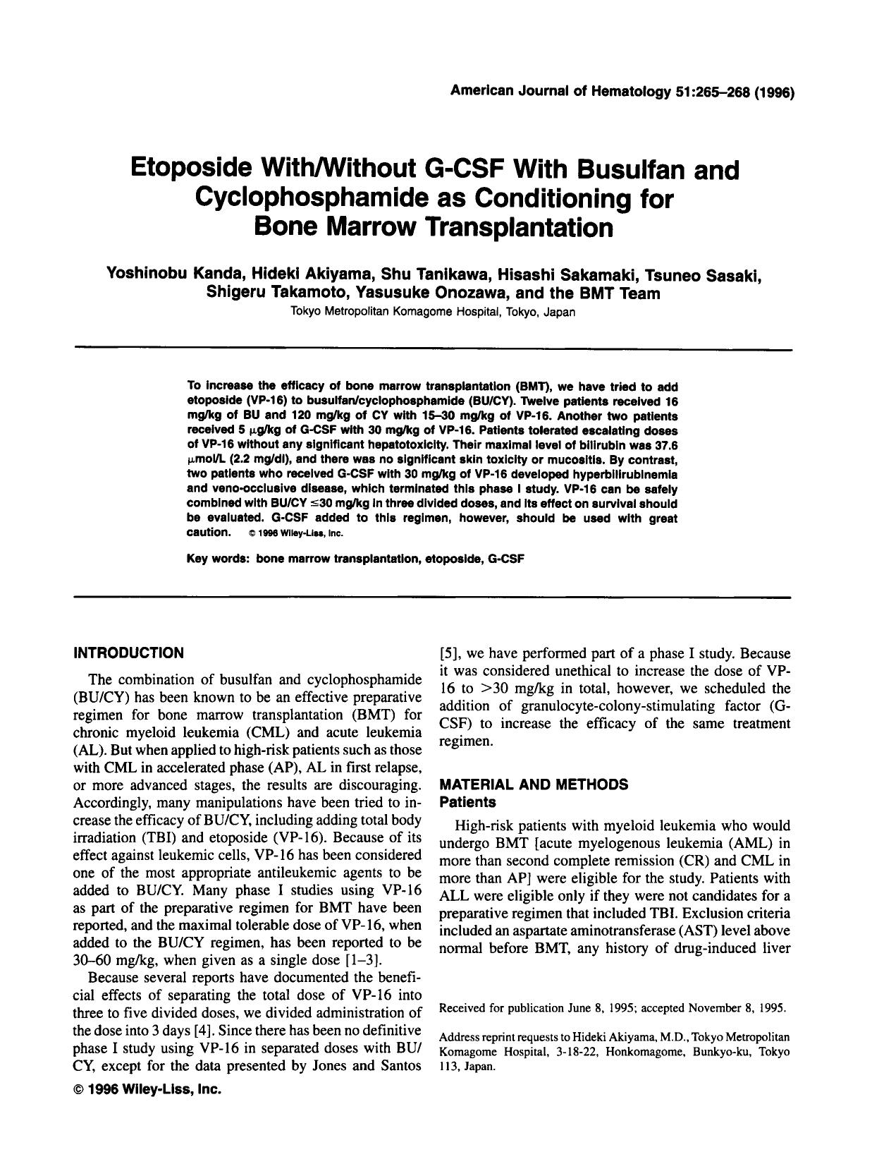 Book cover Etoposide with/without G-CSF with busulfan and cyclophosphamide as conditioning for bone marrow transplantation