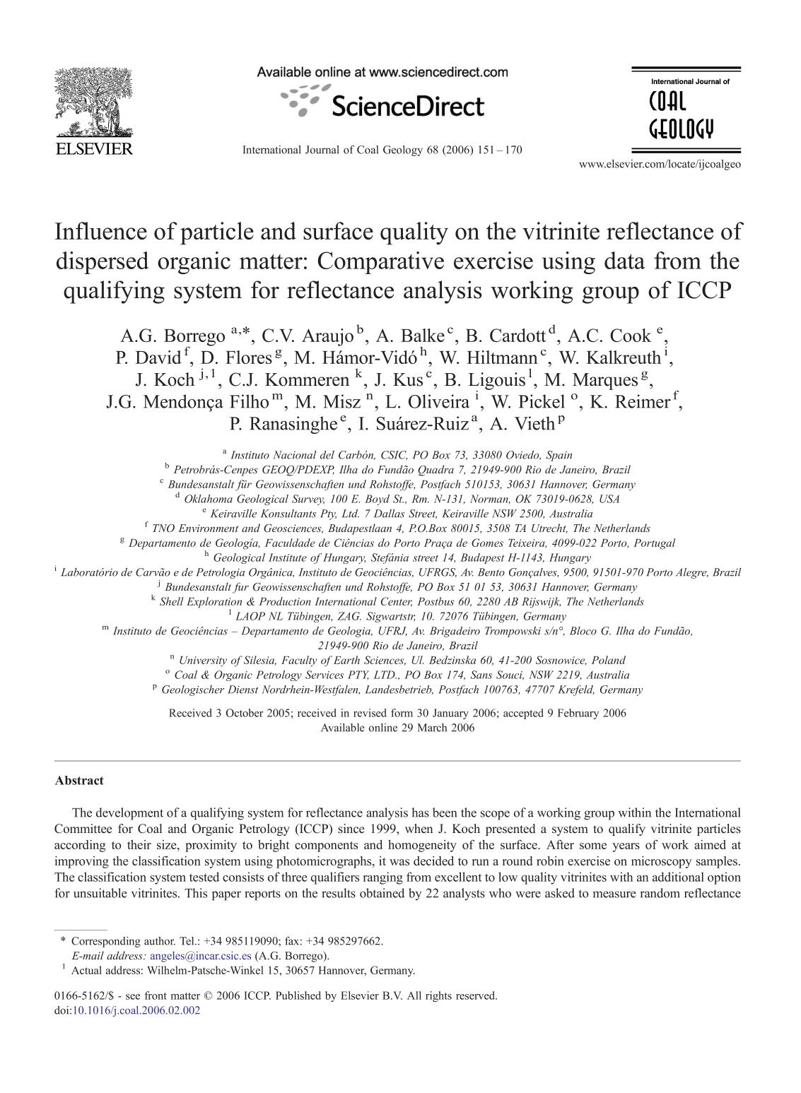 Book cover Influence of particle and surface quality on the vitrinite reflectance of dispersed organic matter: Comparative exercise using data from the qualifying system for reflectance analysis working group of ICCP