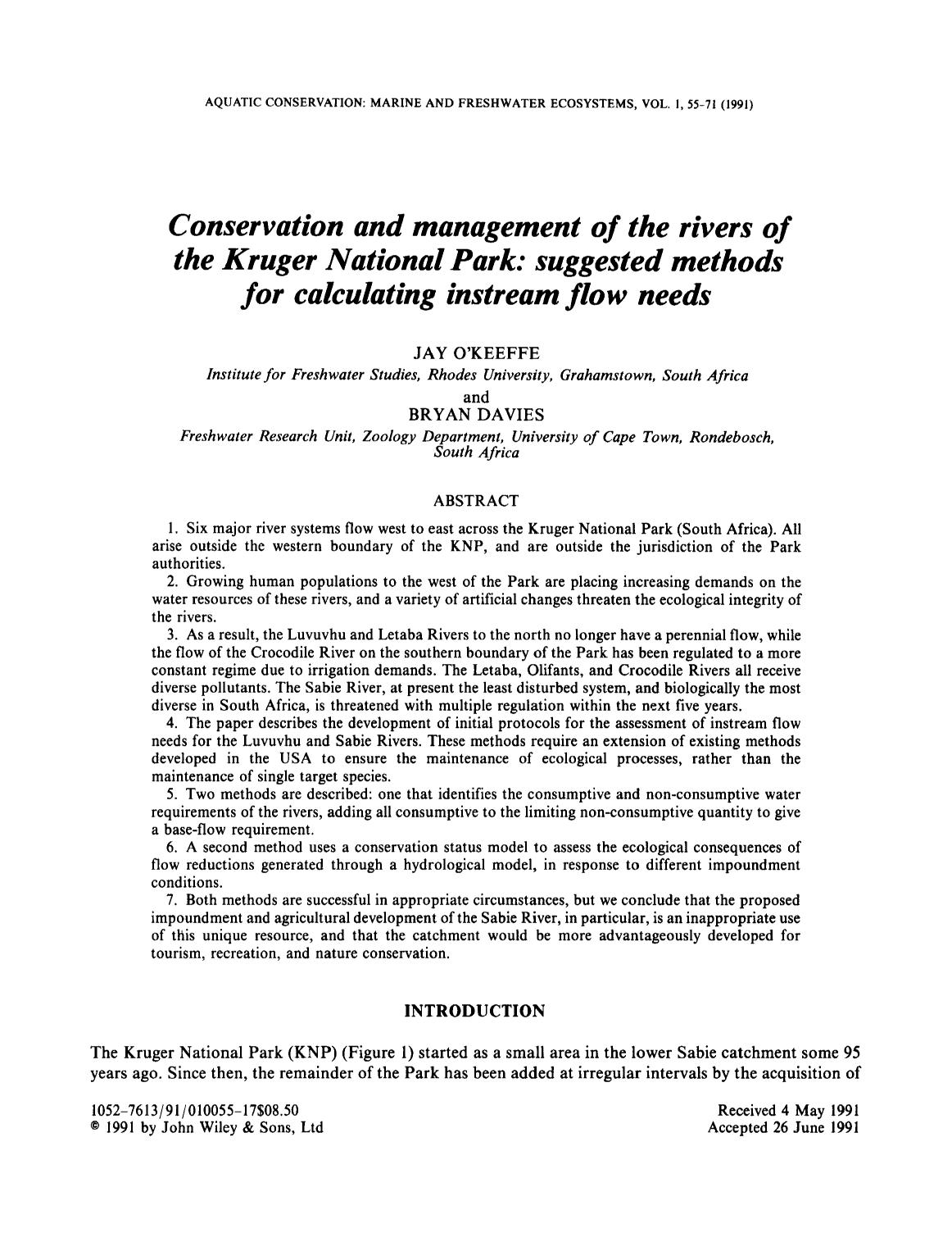 Book cover Conservation and management of the rivers of the Kruger National Park: Suggested methods for calculating instream flow needs