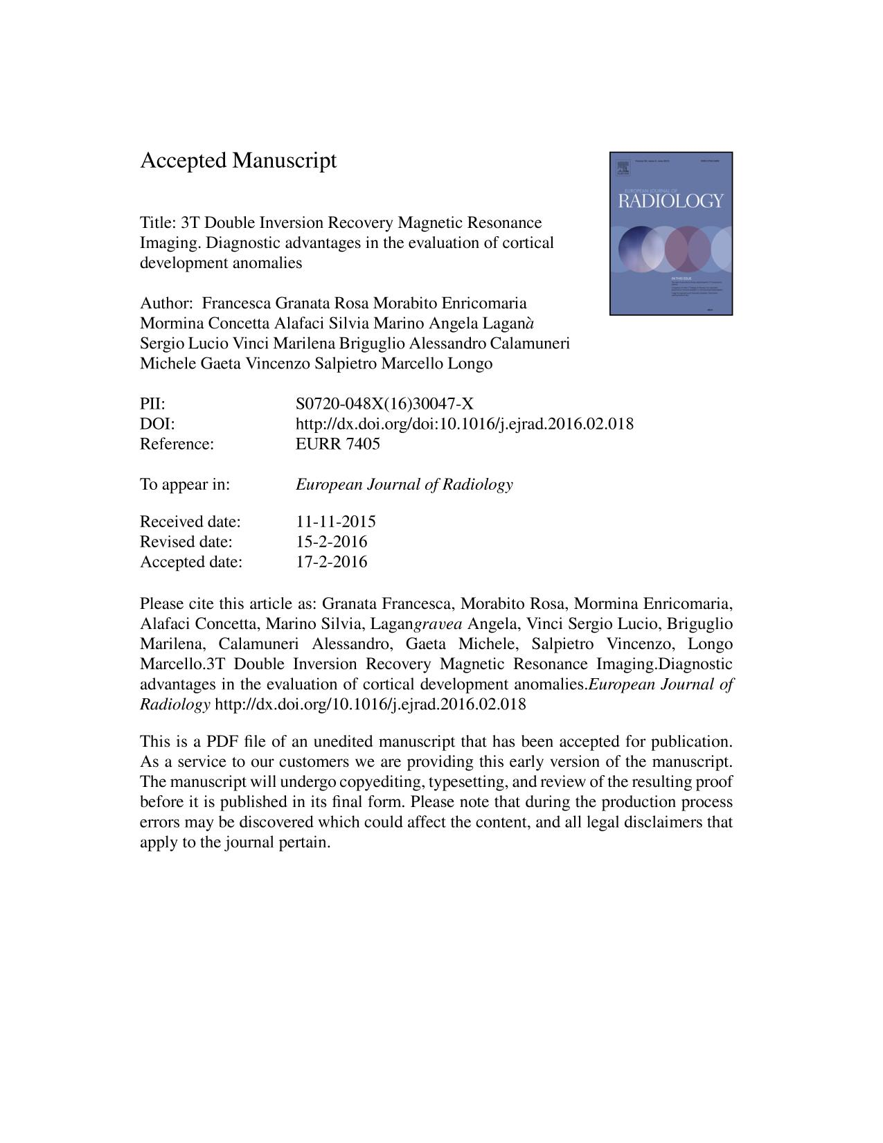 Book cover 3T Double Inversion Recovery Magnetic Resonance Imaging. Diagnostic advantages in the evaluation of cortical development anomalies