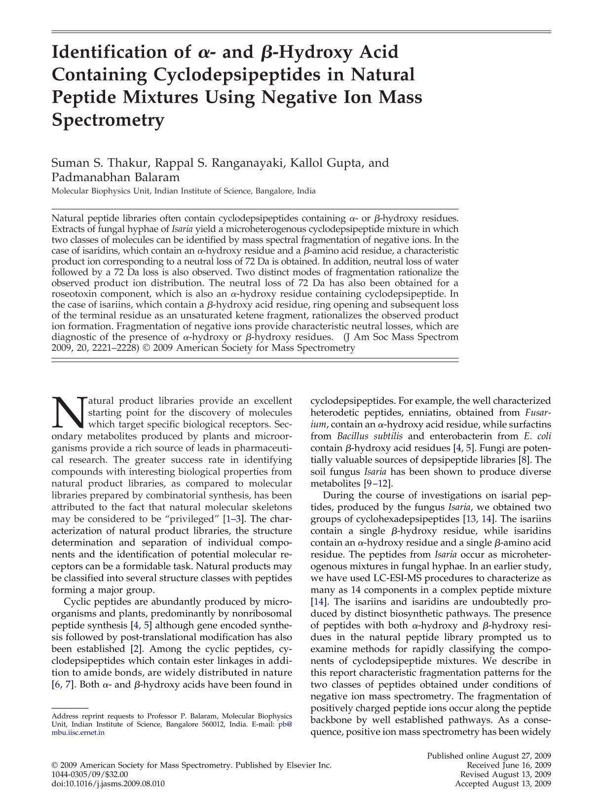 Book cover Identification of α- and β-Hydroxy Acid Containing Cyclodepsipeptides in Natural Peptide Mixtures Using Negative Ion Mass Spectrometry