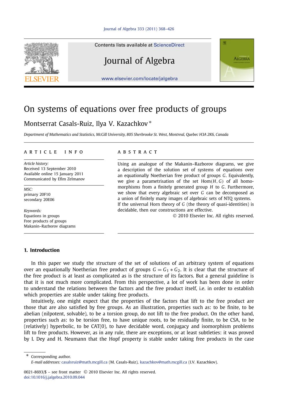 Book cover On systems of equations over free products of groups