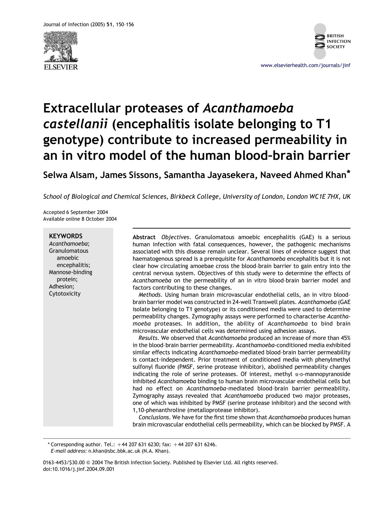 Book cover Extracellular proteases of Acanthamoeba castellanii (encephalitis isolate belonging to T1 genotype) contribute to increased permeability in an in vitro model of the human blood–brain barrier