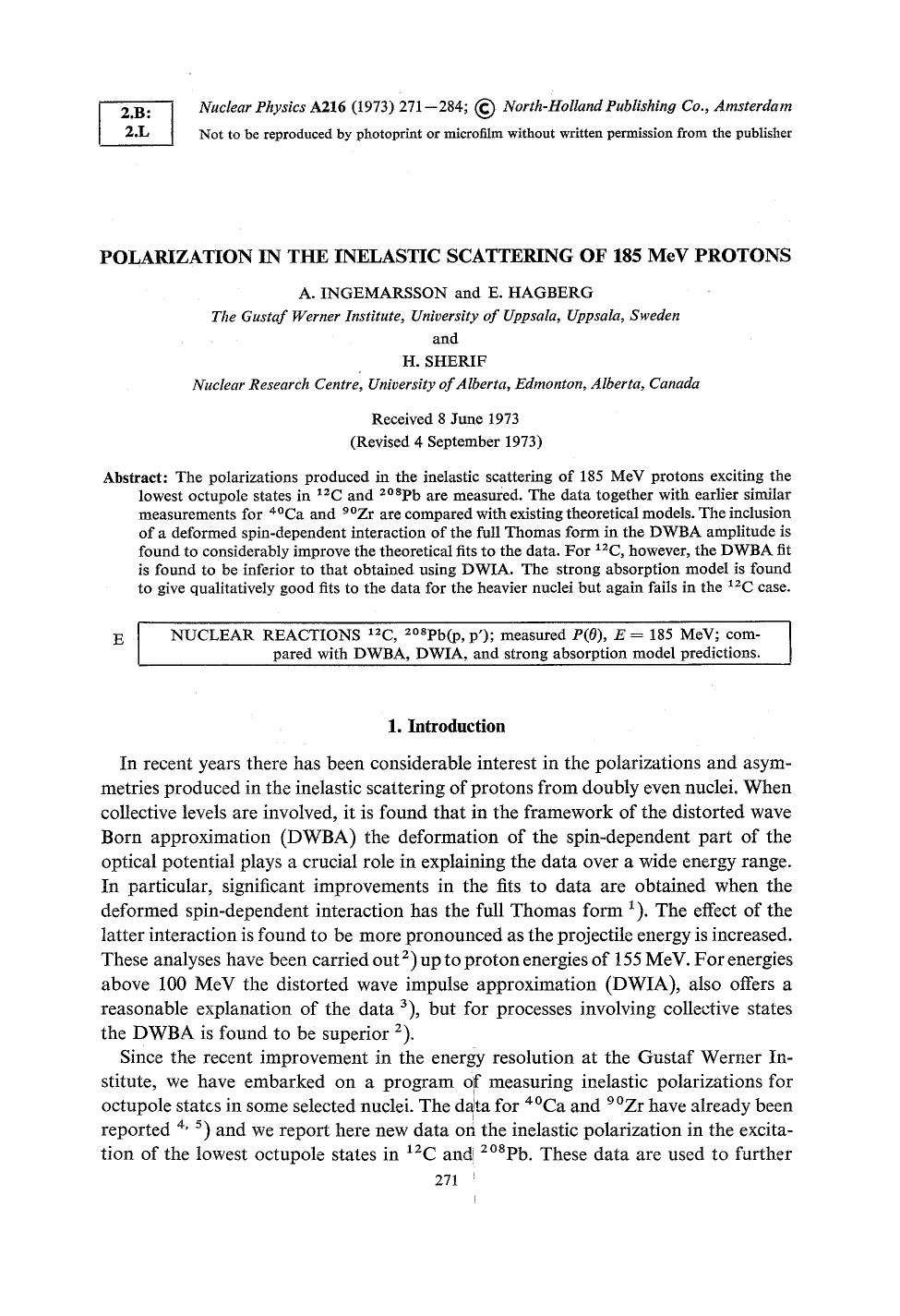 Book cover Polarization in the inelastic scattering of 185 MeV protons