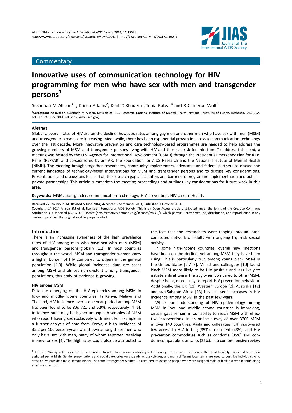 Book cover Innovative uses of communication technology for HIV programming for men who have sex with men and transgender persons