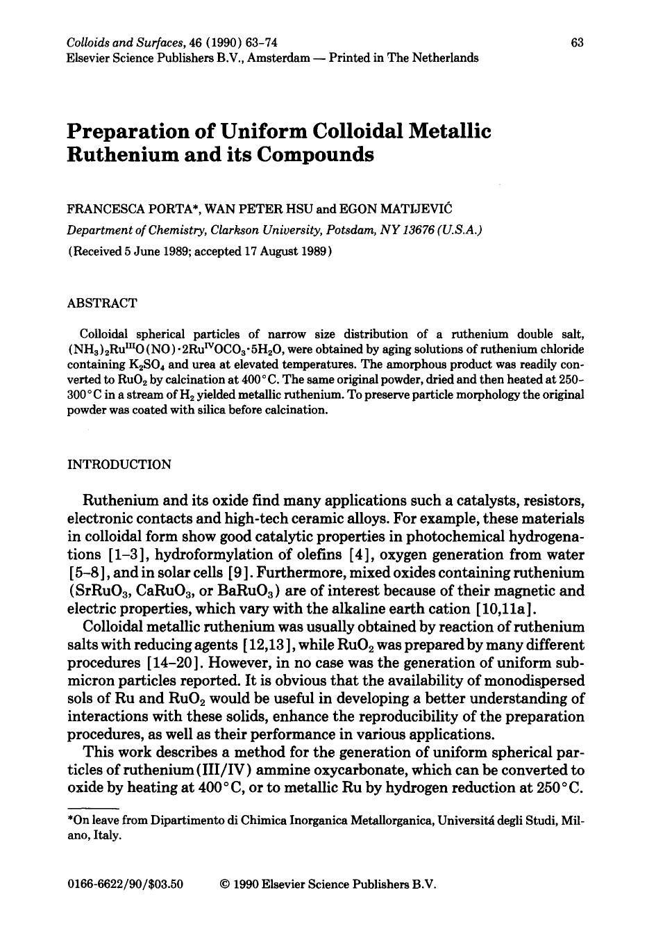 Okładka książki Preparation of uniform colloidal metallic ruthenium and its compounds