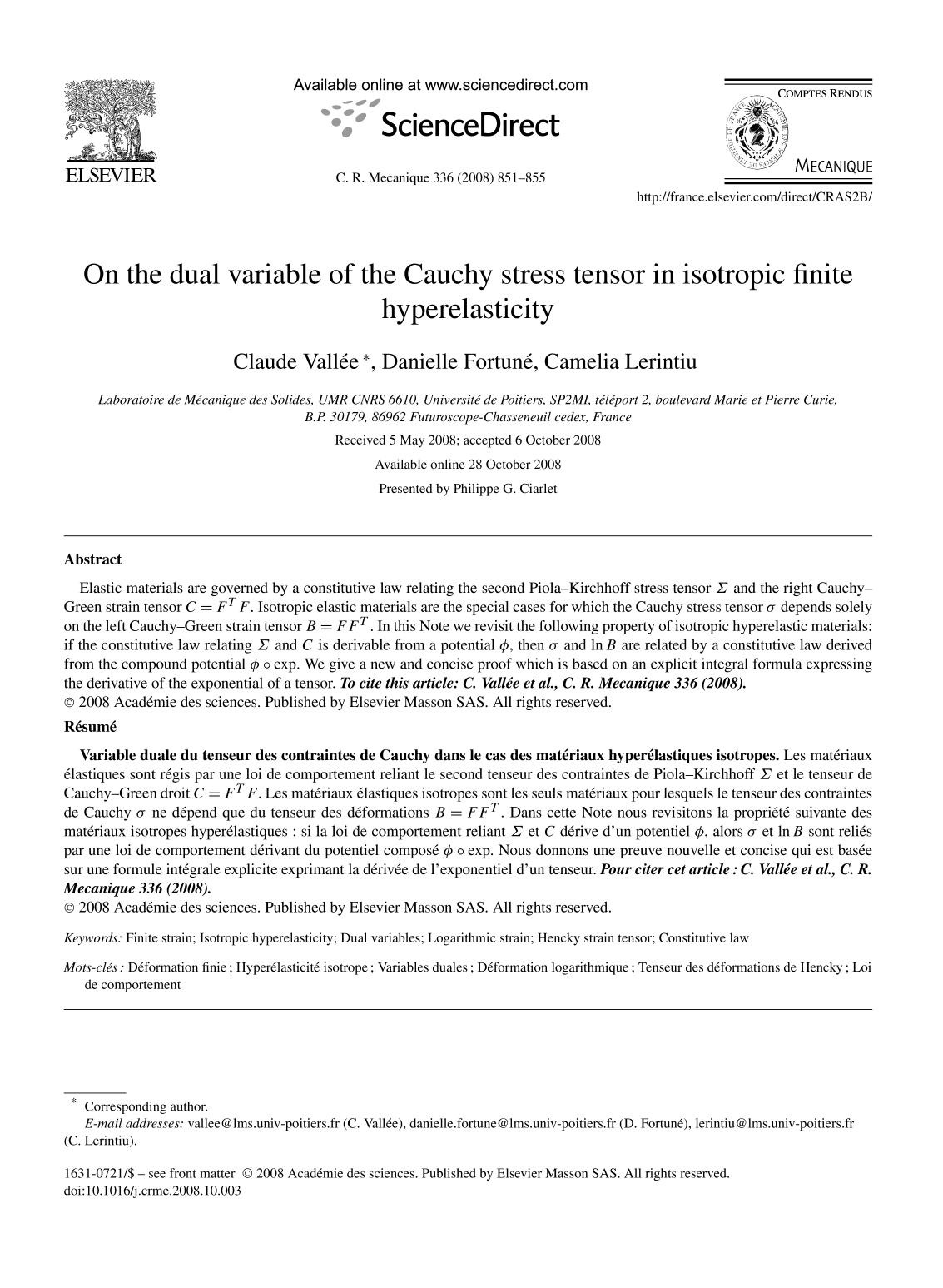 Book cover On the dual variable of the Cauchy stress tensor in isotropic finite hyperelasticity