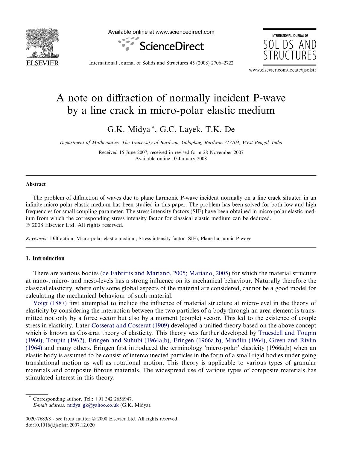 Portada del libro A note on diffraction of normally incident P-wave by a line crack in micro-polar elastic medium