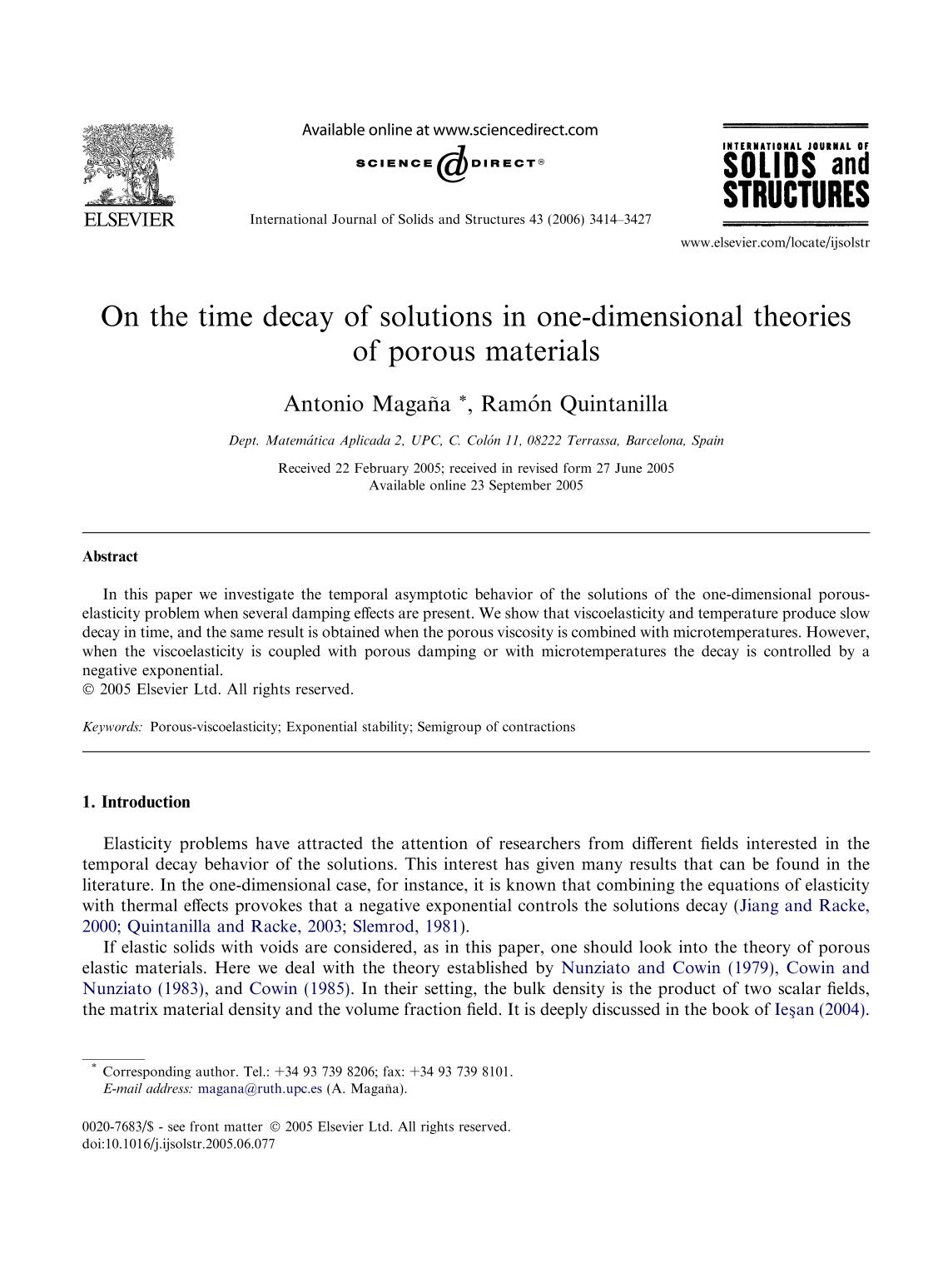 Book cover On the time decay of solutions in one-dimensional theories of porous materials