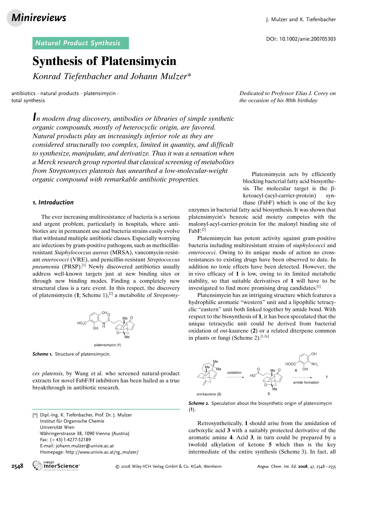 Book cover Synthesis of Platensimycin