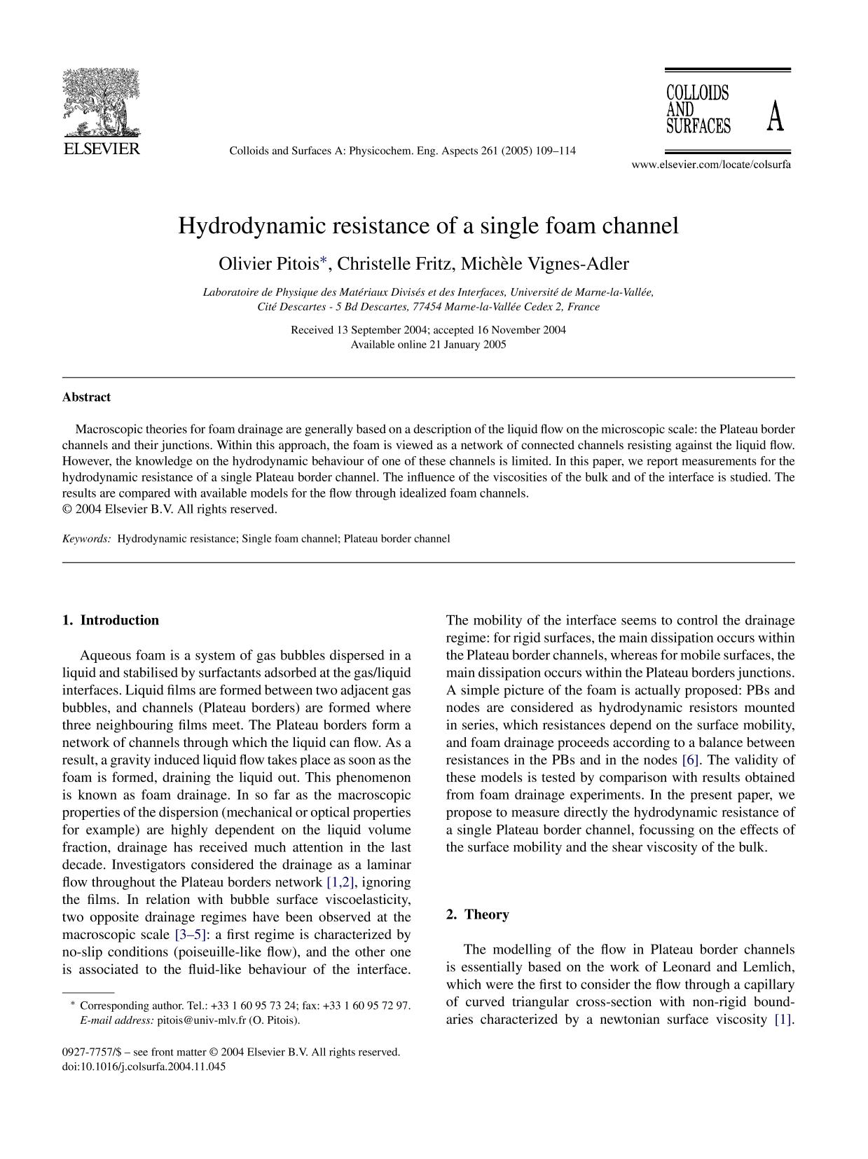 Κάλυψη βιβλίων Hydrodynamic resistance of a single foam channel