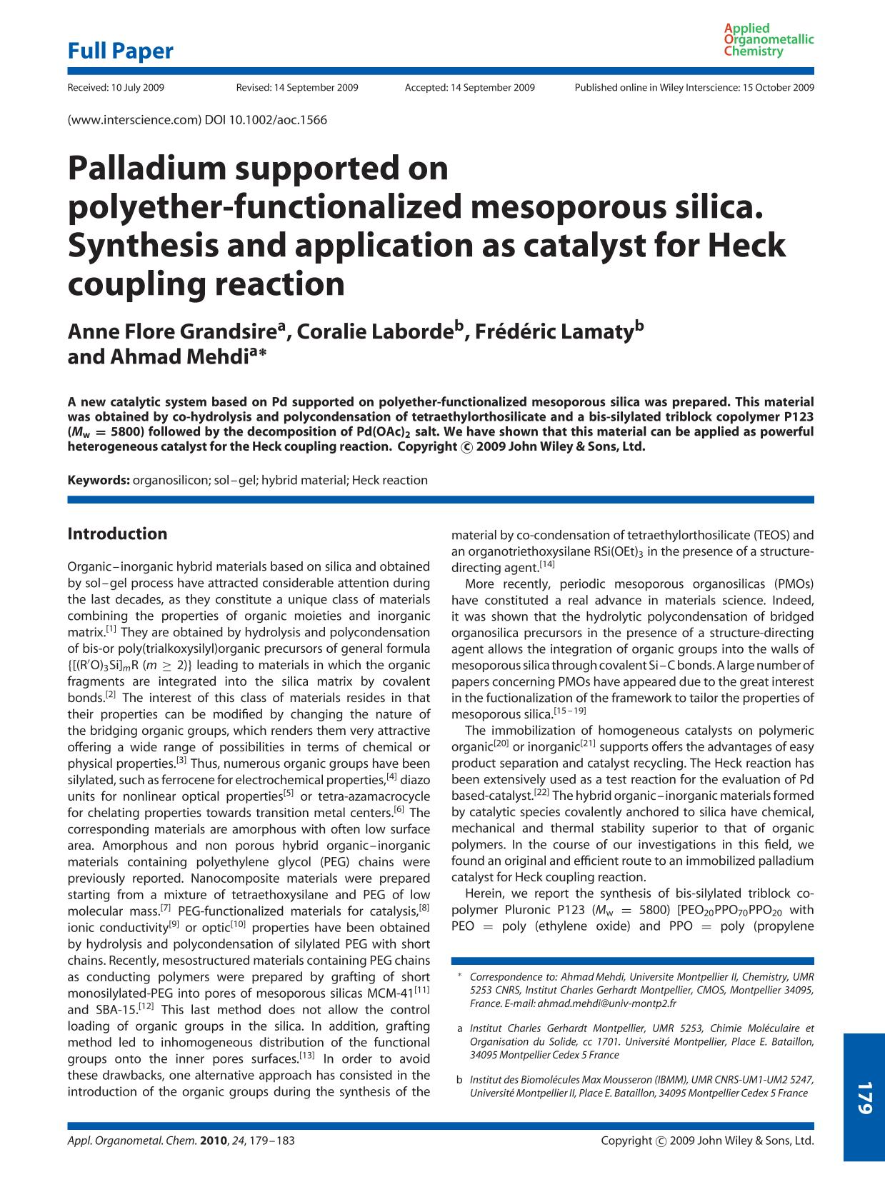 Book cover Palladium supported on polyether-functionalized mesoporous silica. Synthesis and application as catalyst for Heck coupling reaction