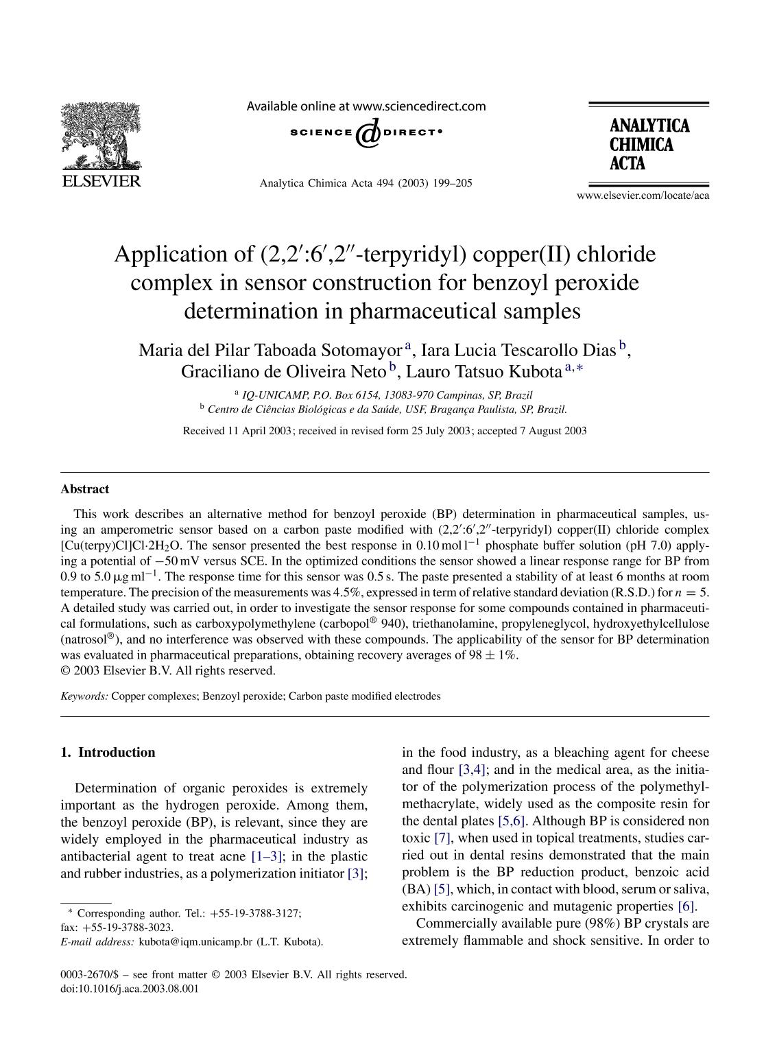書籍の表紙 Application of (2,2′:6′,2″-terpyridyl) copper(II) chloride complex in sensor construction for benzoyl peroxide determination in pharmaceutical samples