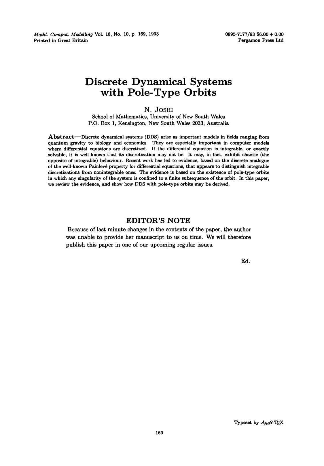 Book cover Discrete dynamical systems with pole-type orbits