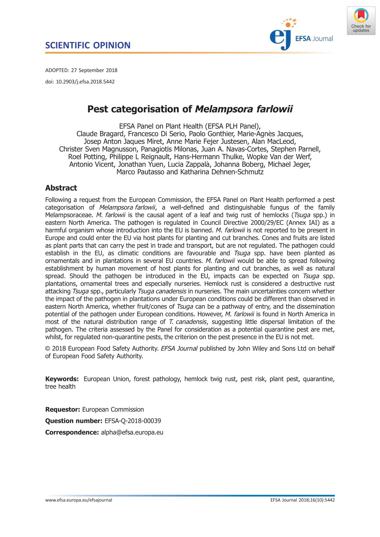 Обкладинка книги Pest categorisation of Melampsora farlowii