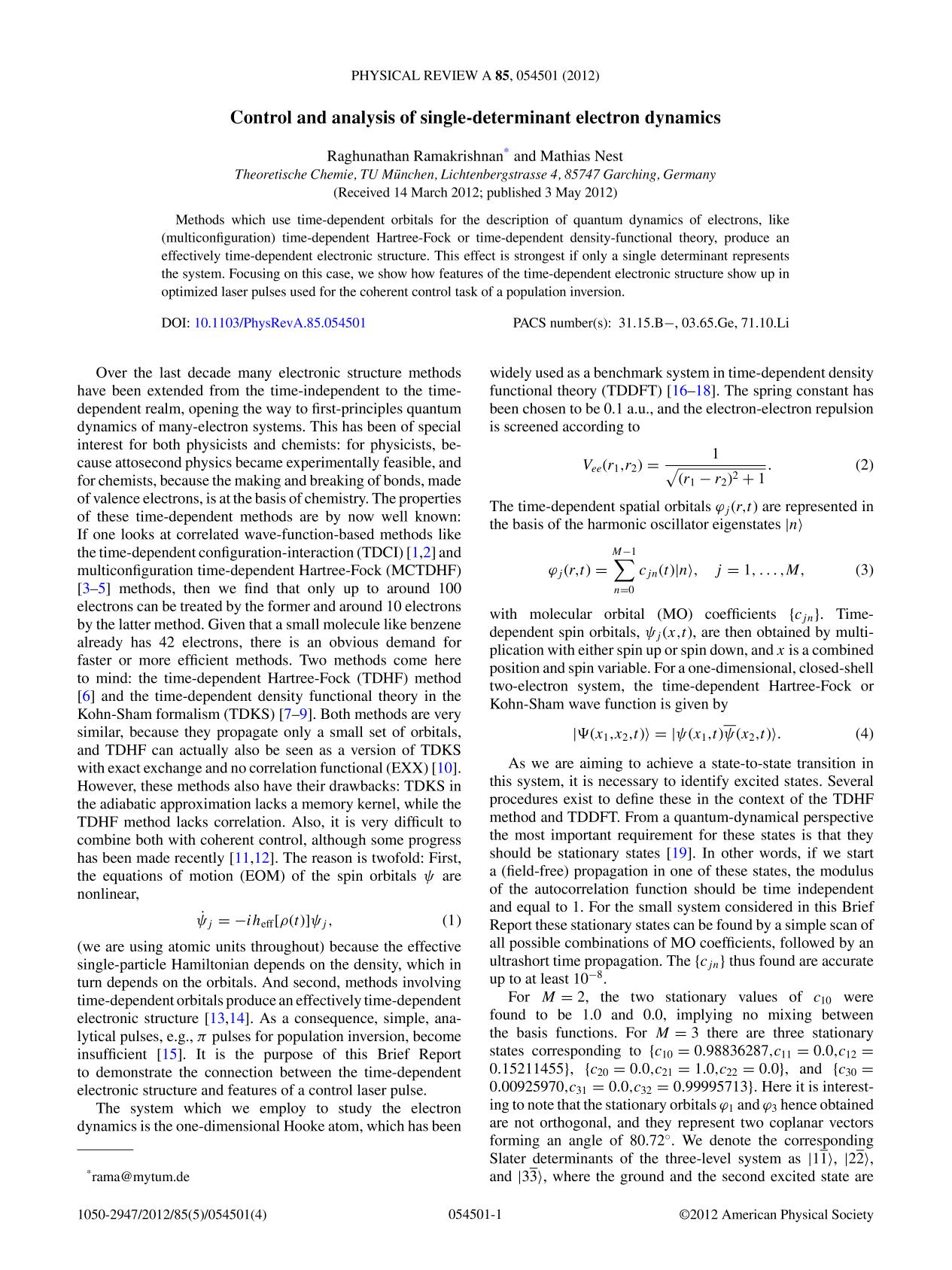 Book cover Control and analysis of single-determinant electron dynamics