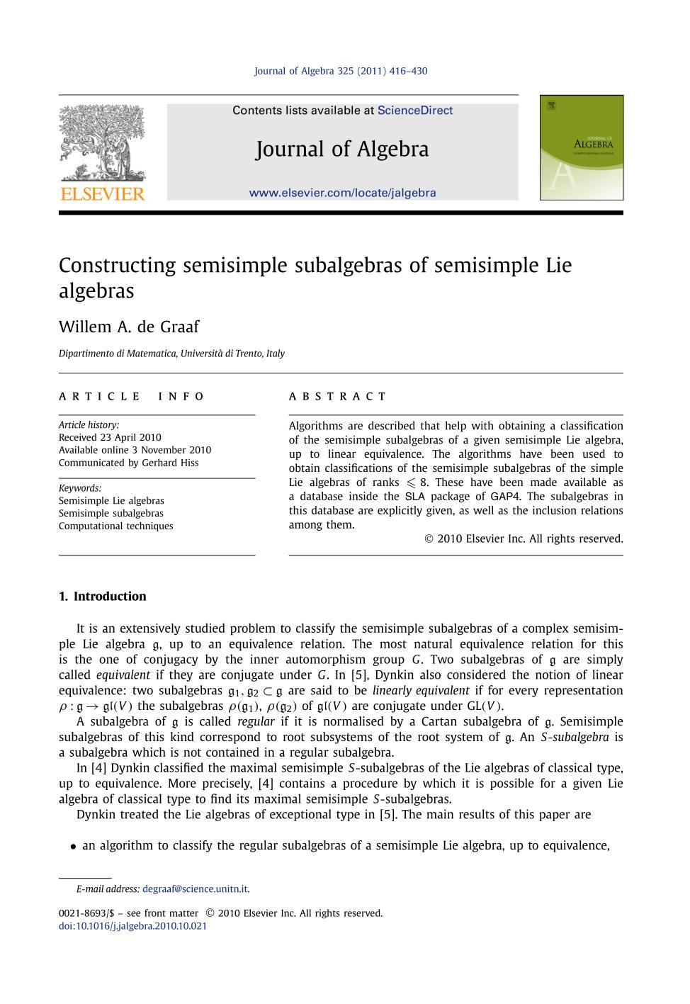 書籍の表紙 Constructing semisimple subalgebras of semisimple Lie algebras