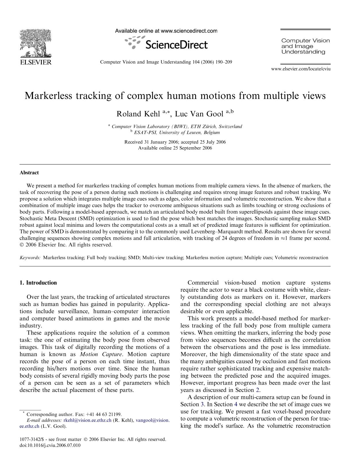 Book cover Markerless tracking of complex human motions from multiple views