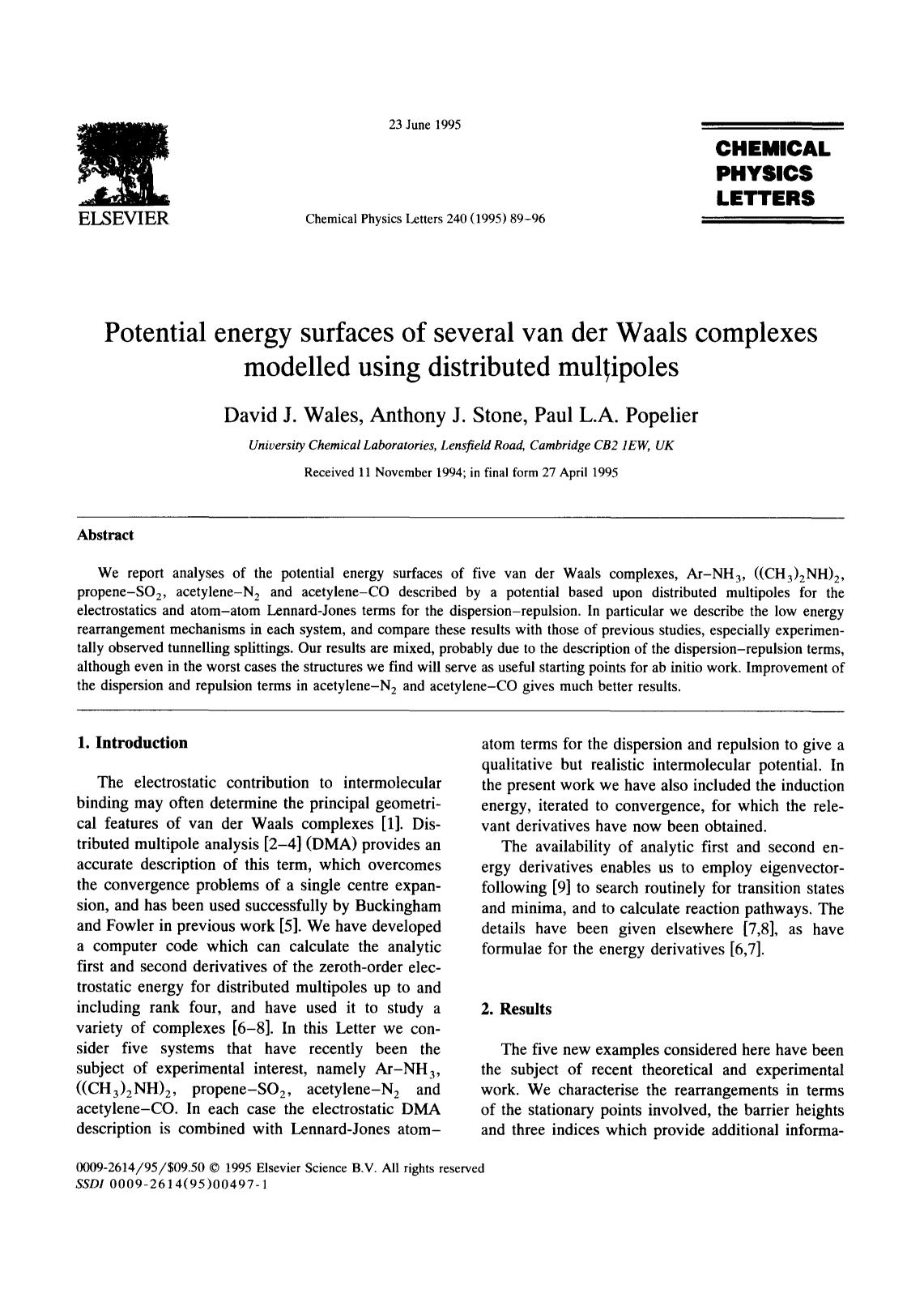 Book cover Potential energy surfaces of several van der Waals complexes modelled using distributed multipoles