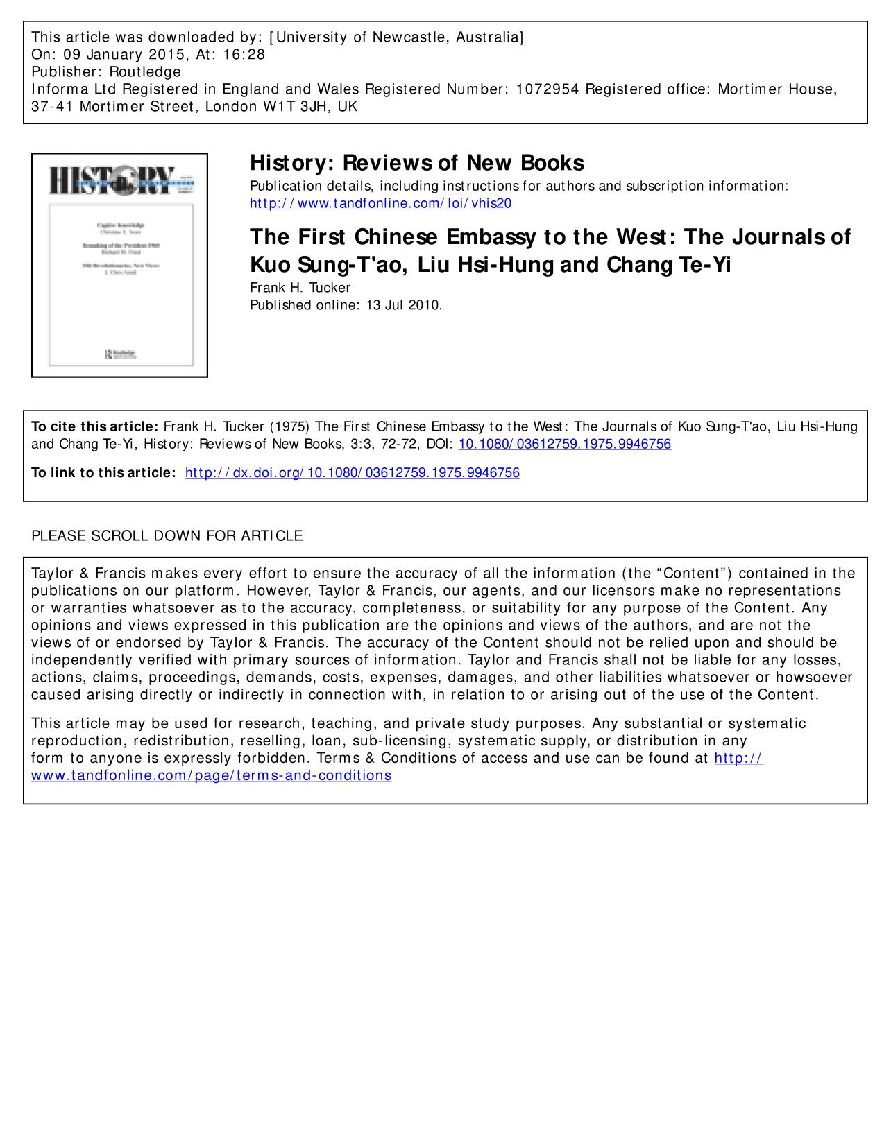 Book cover The First Chinese Embassy to the West: The Journals of Kuo Sung-T'ao, Liu Hsi-Hung and Chang Te-Yi