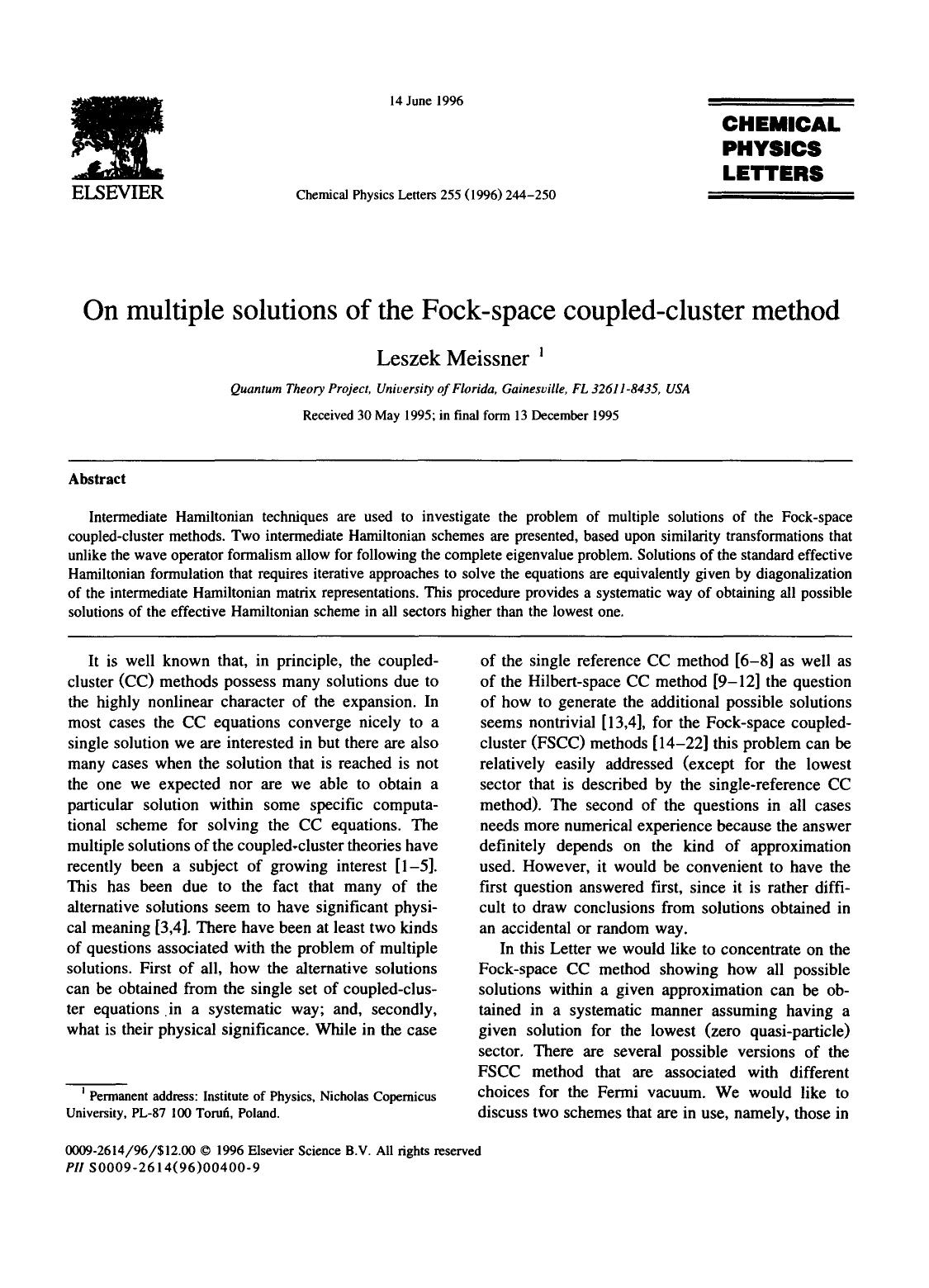 Book cover On multiple solutions of the Fock-space coupled-cluster method